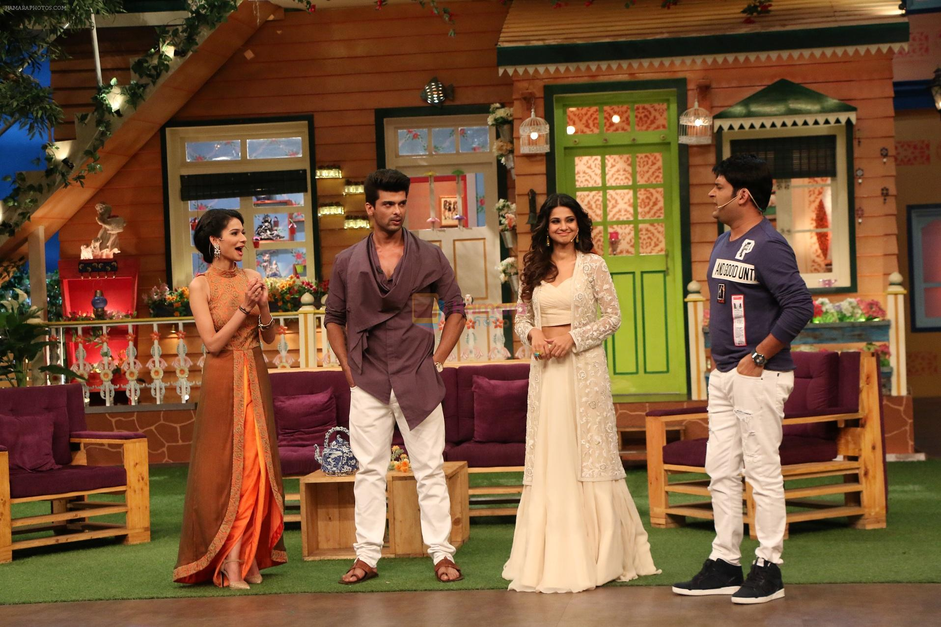 Jennifer Winget, Kushal Tandon and Aneri Vajani promote Beyhadh on the sets of The Kapil Sharma Show on 5th oct 2016