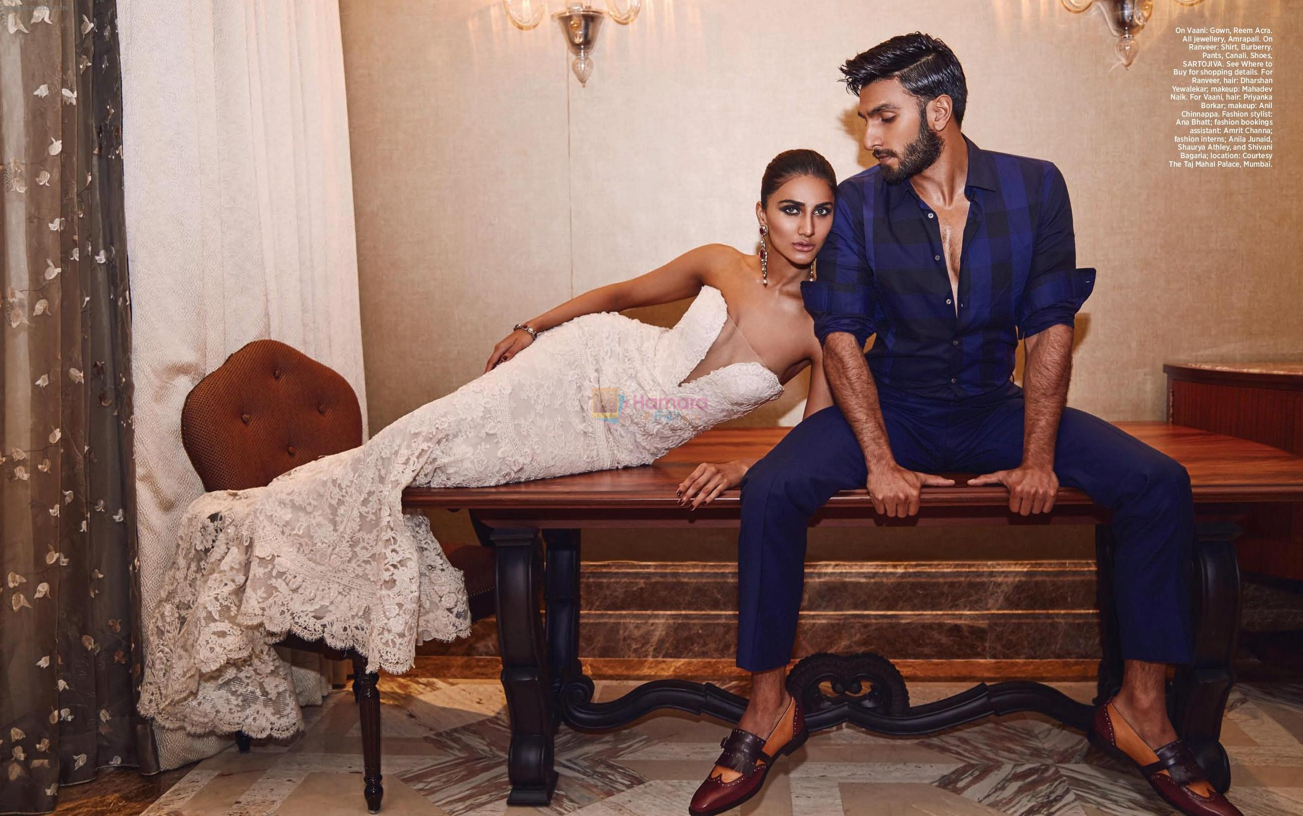 Ranveer Singh and Vaani Kapoor on the cover of Harper's Bazaar Bride, Oct. issue