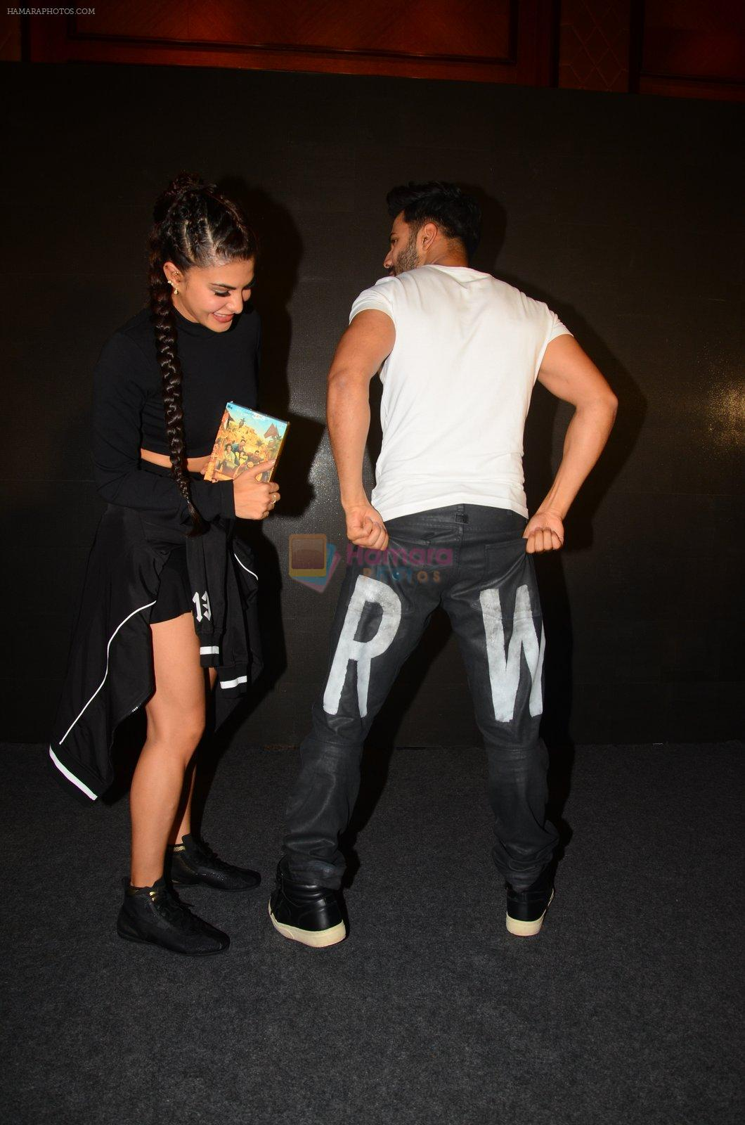 Jacqueline Fernandez, Varun Dhawan during the success party of the film Dishoom on 14th Oct 2016