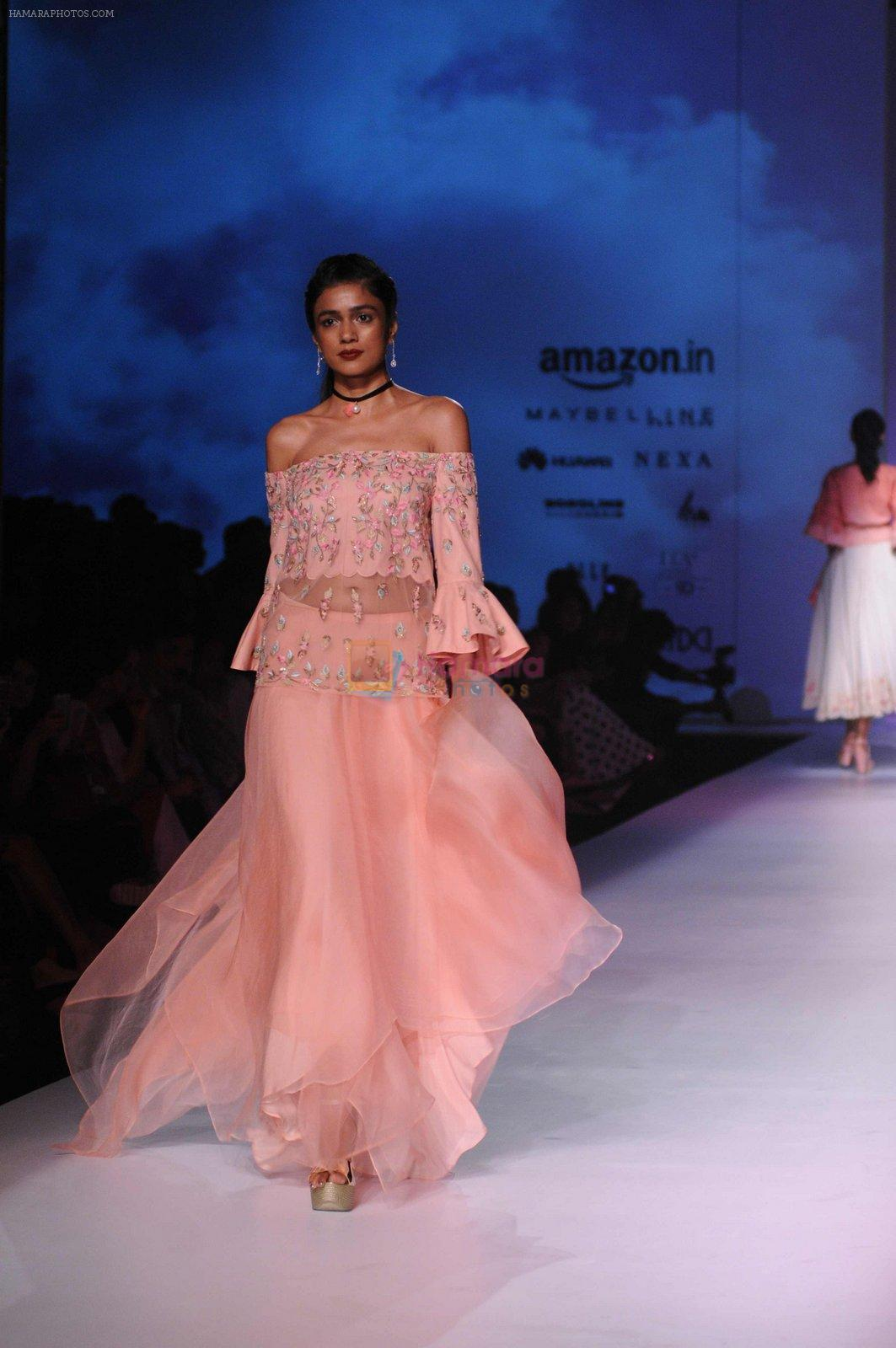 Model walk the ramp for Mandira Wrik's show at Amazon India Fashion Week on 15th Oct 2016