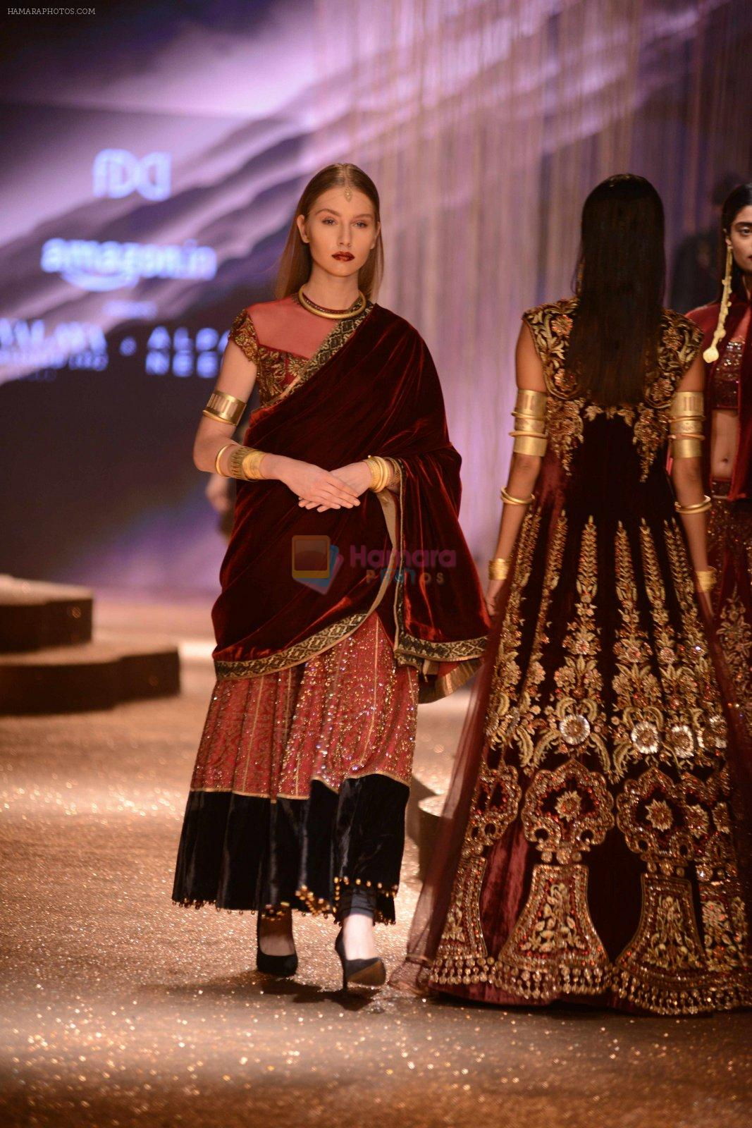 Model walk the ramp for JJ Valaya Show grand finale at amazon India Fashion Week on 16th Oct 2016