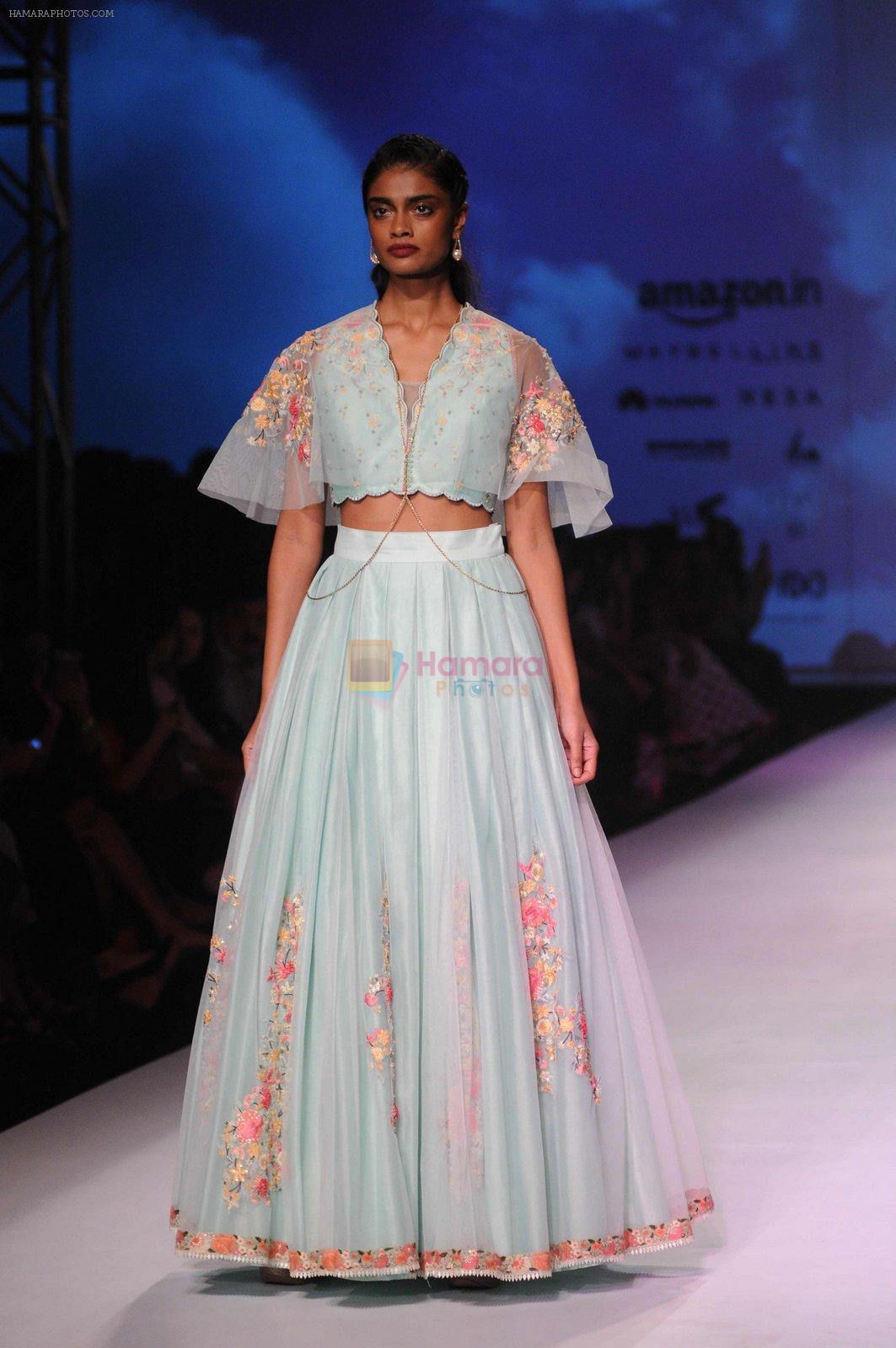 Model walk the ramp for Mandira Wrik's show at Amazon India Fashion Week on 15th Oct 2016