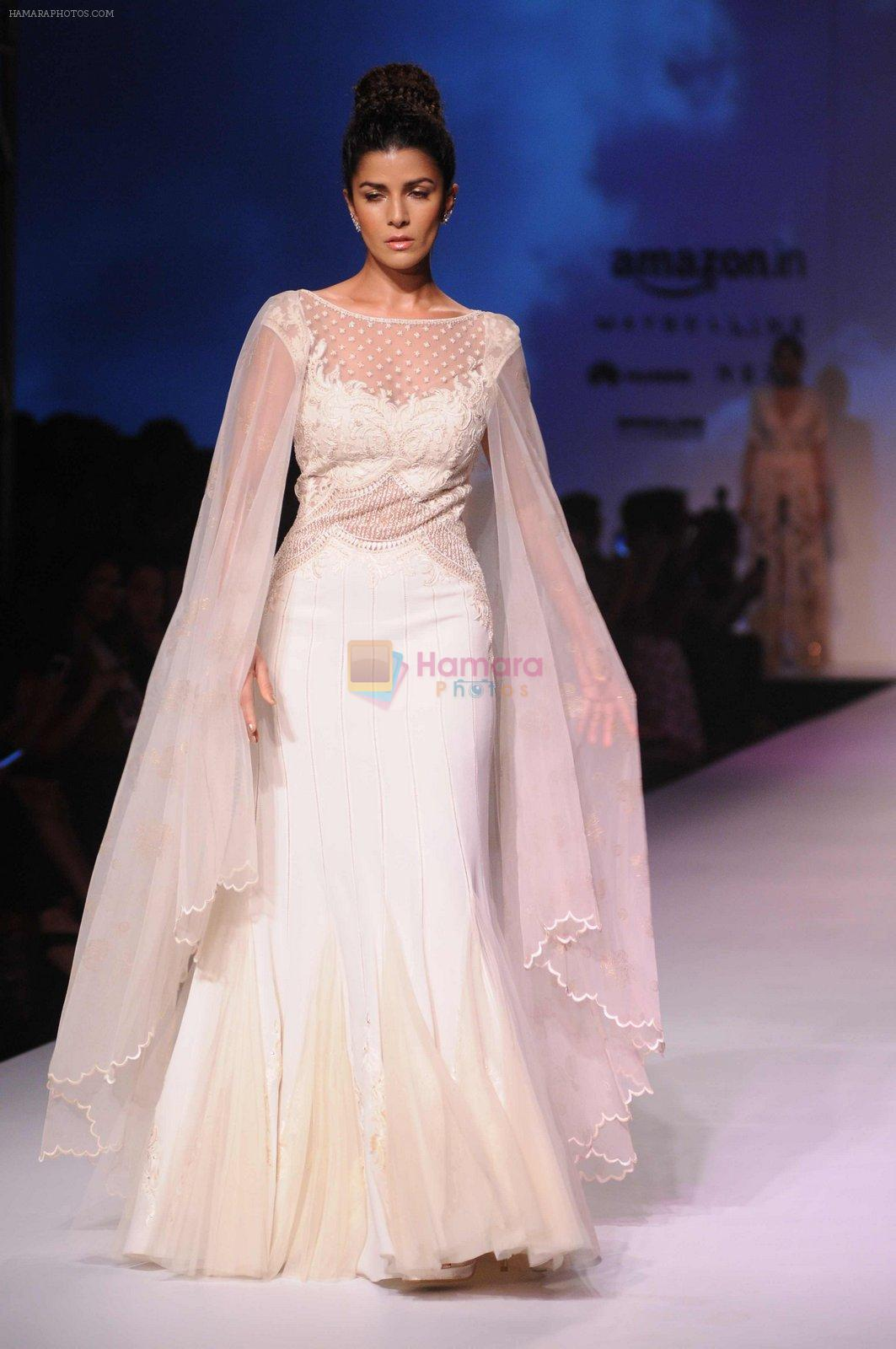 Nimrat Kaur walk the ramp for Mandira Wrik's show at Amazon India Fashion Week on 15th Oct 2016