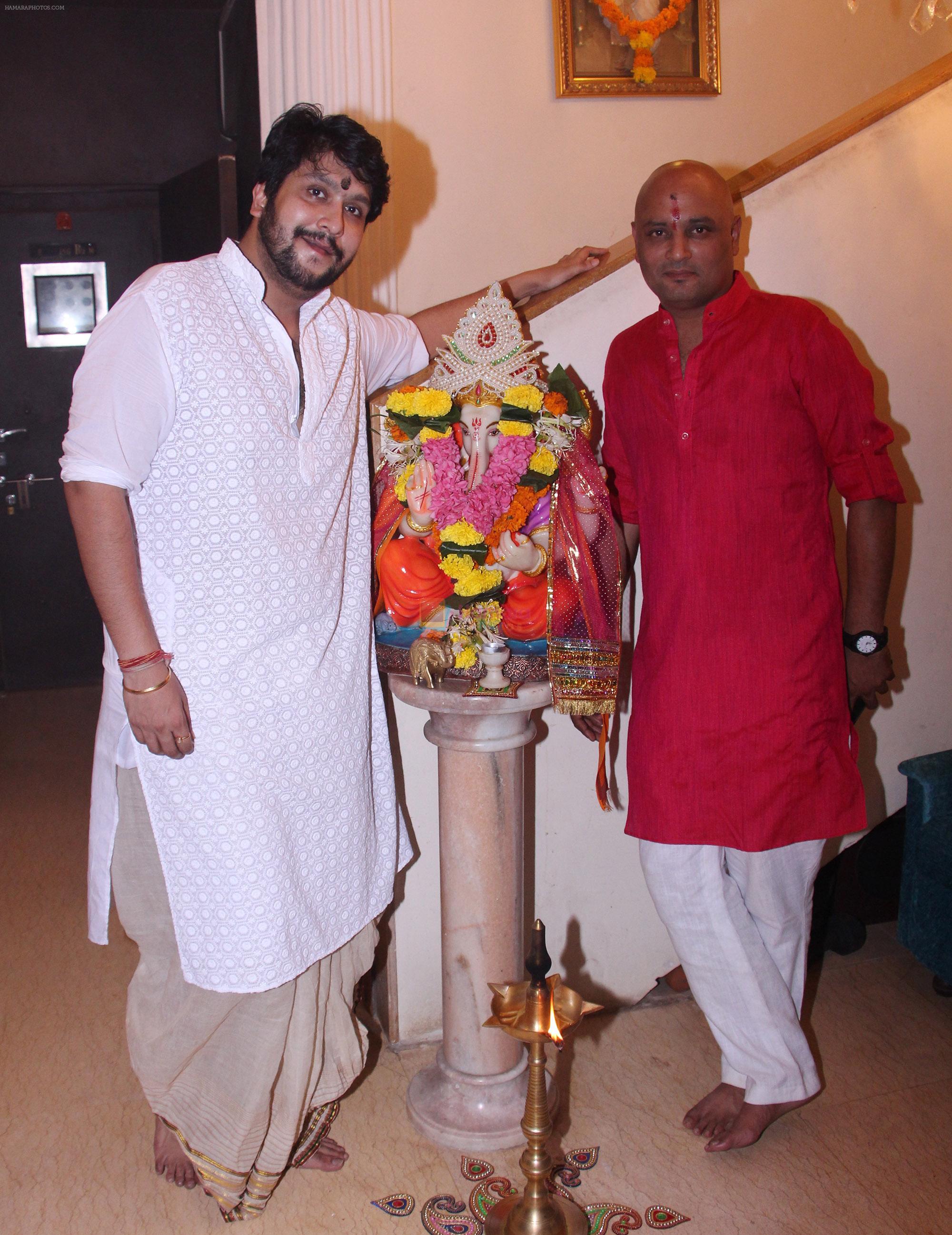 Bappa Lahiri and Raja Mukherjee at the Lahiri House Lakshmi Pooja in Juhu