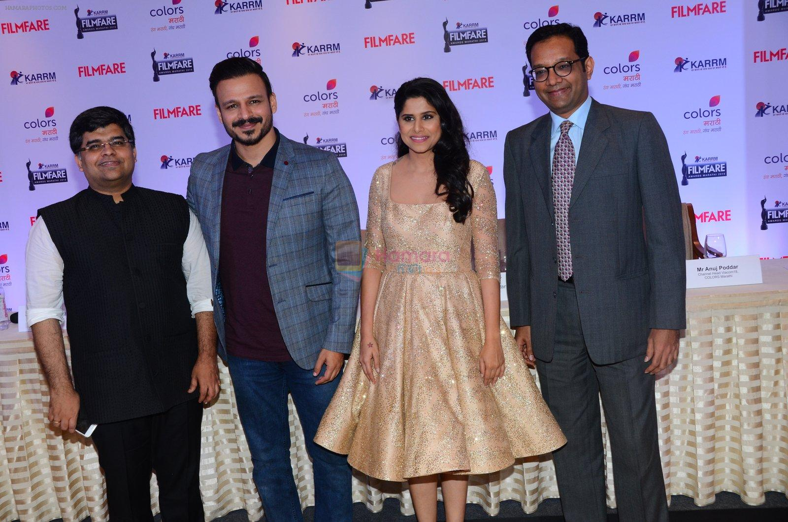 Vivek Oberoi, Sai Tamhankar at Marathi Filmfare press meet on 16th Nov 2016