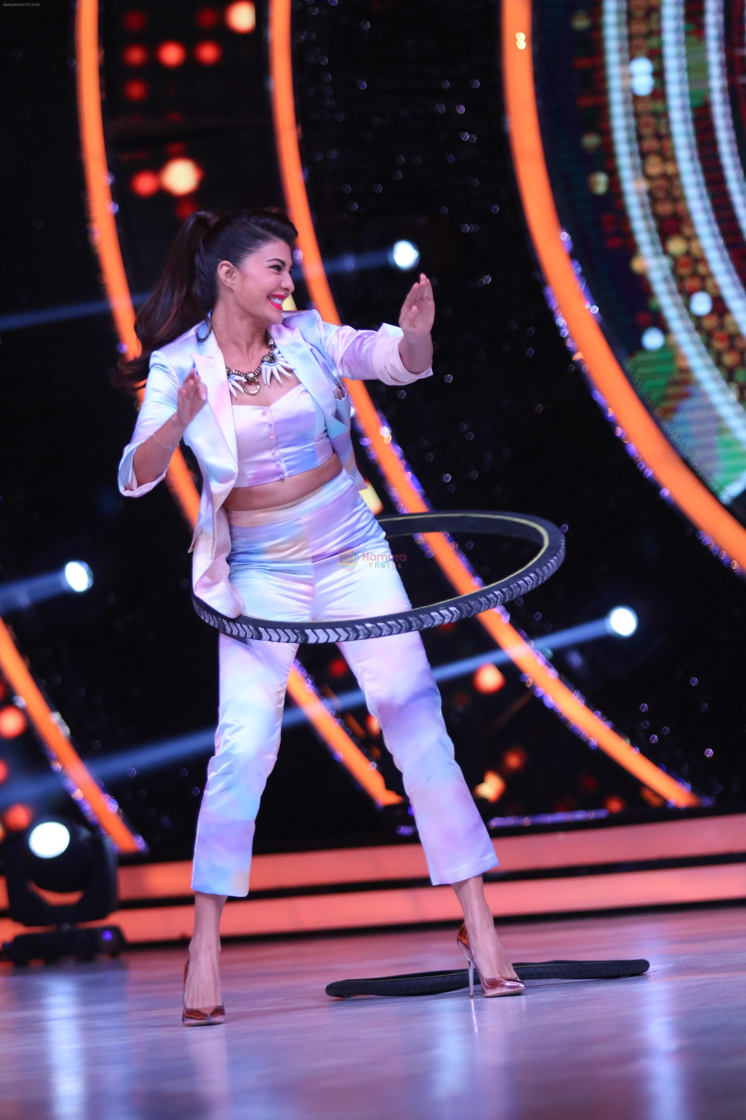 Jacqueline Fernandez showing off her hula hoopskills with a tyre on the sets of Jhalak Dikhhla Jaa