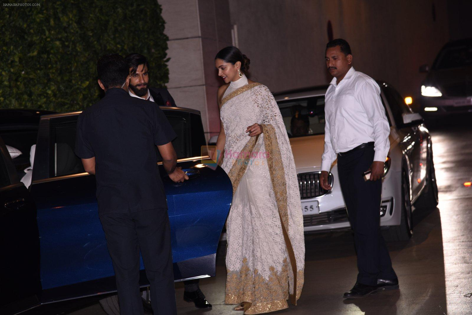 Deepika Padukone, Ranveer Singh at the Ambani's wedding party of their niece, Isheta Salgaoncar on 24th Nov 2016