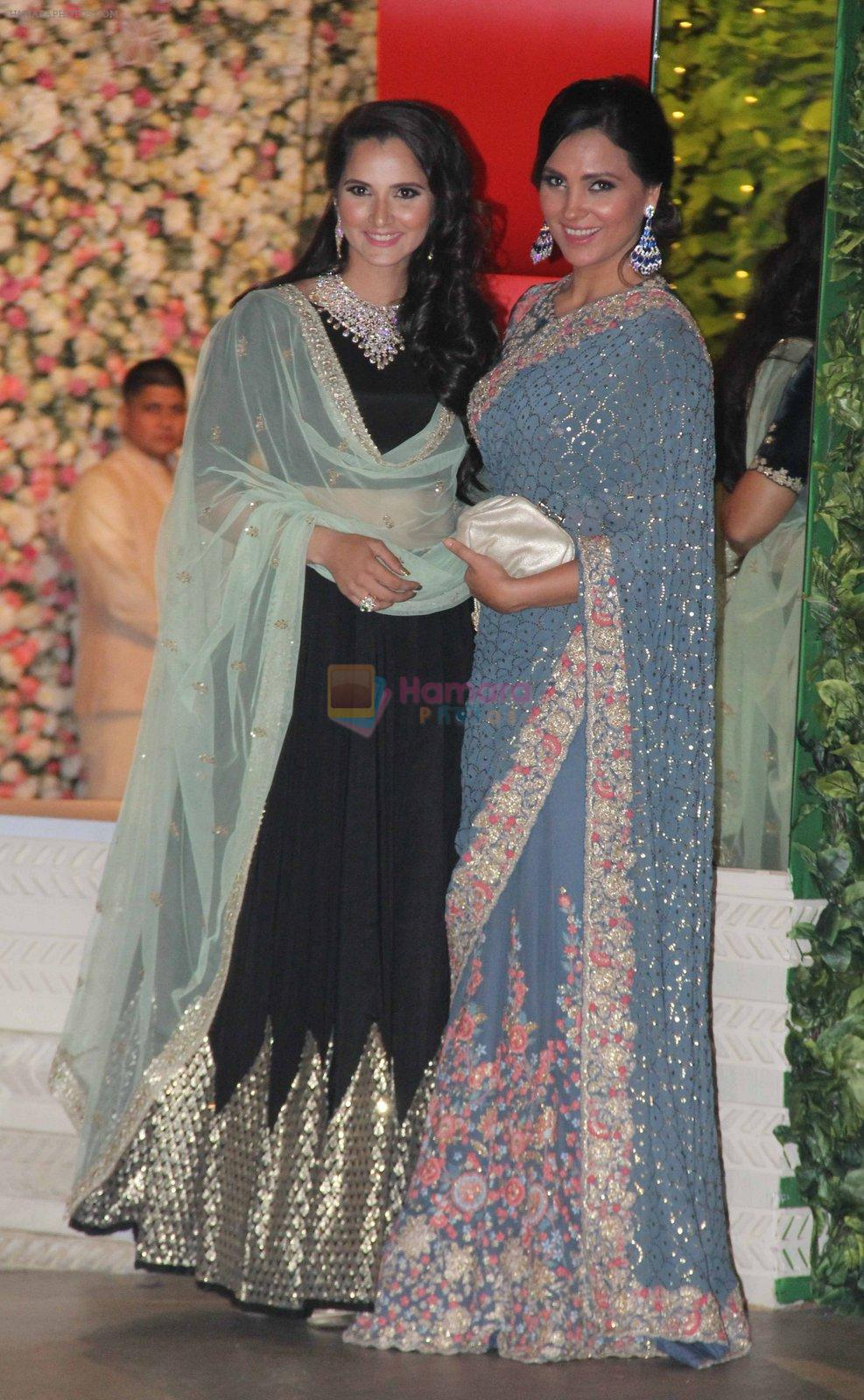Sania Mirza, Lara Dutta at the Ambani's wedding party of their niece, Isheta Salgaoncar on 24th Nov 2016