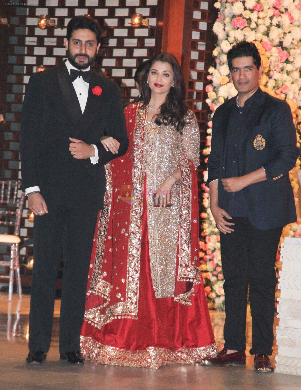 Aishwarya Rai Bachchan, Abhishek Bachchan at the Ambani's wedding party of their niece, Isheta Salgaoncar on 24th Nov 2016