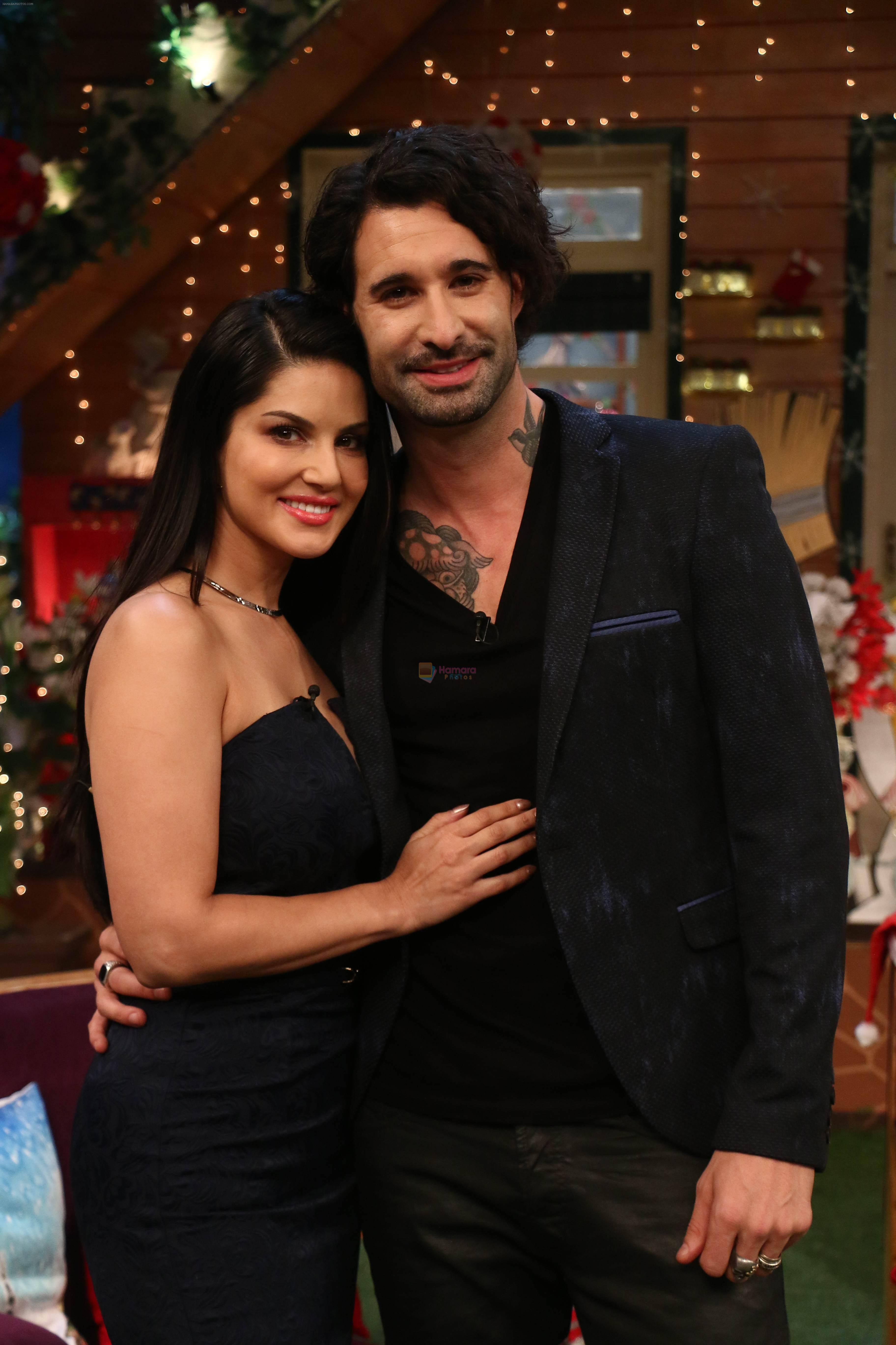 Sunny Leone and her husband Daniel Weber on the sets of The Kapil Sharma Show on 24th Dec 2016