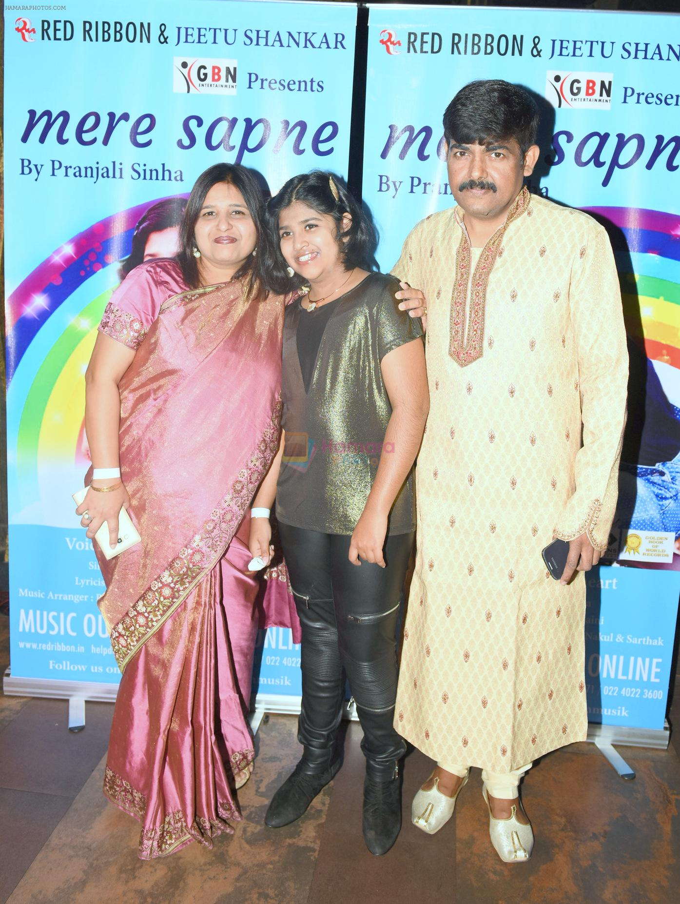 Pranjali Sinha  with her Parents at the Launch of Youngest Music Composer in Golden Book of World Records 2016 Pranjali Sinha's new album MERE SAPNE