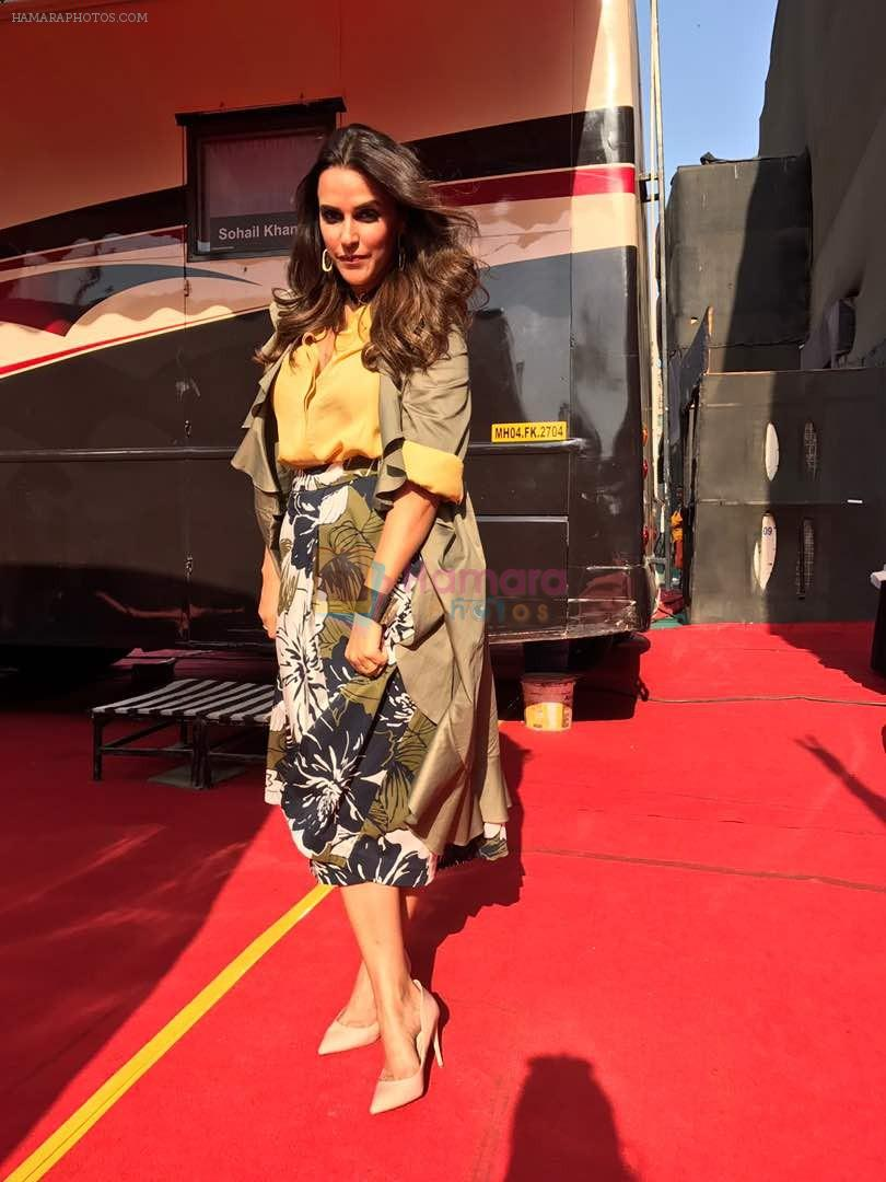 Neha Dhupia In marks and spencer on the sets of chhote Miyan dhakad ... styled by sohaya