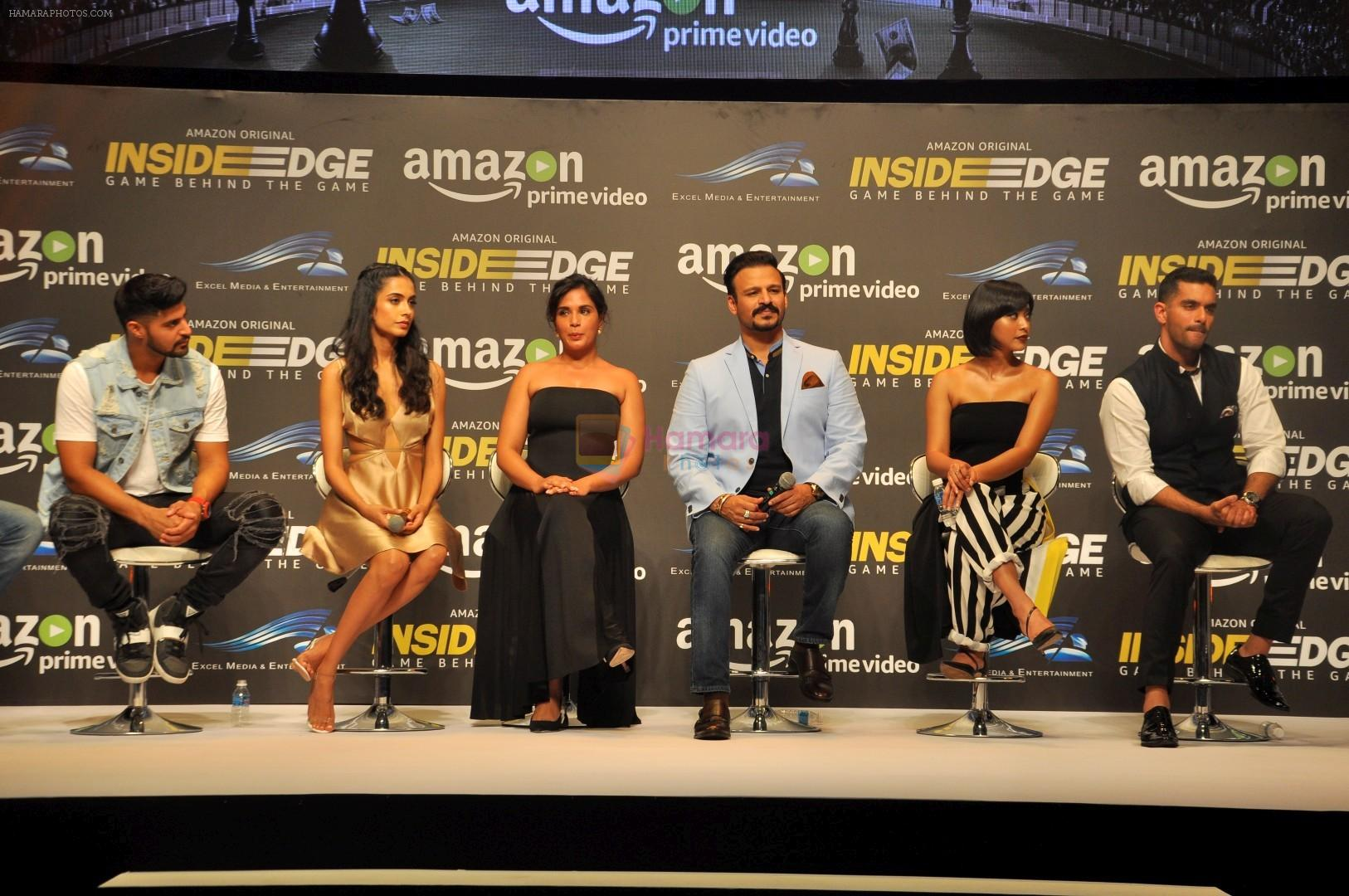 Angad Bedi, Tanuj Virwani, Richa Chadda, Vivek Oberoi, Sayani Gupta at Trailer Launch Of Indiai's 1st Amazon Prime Video Original Series Inside Edge on 16th June 2017