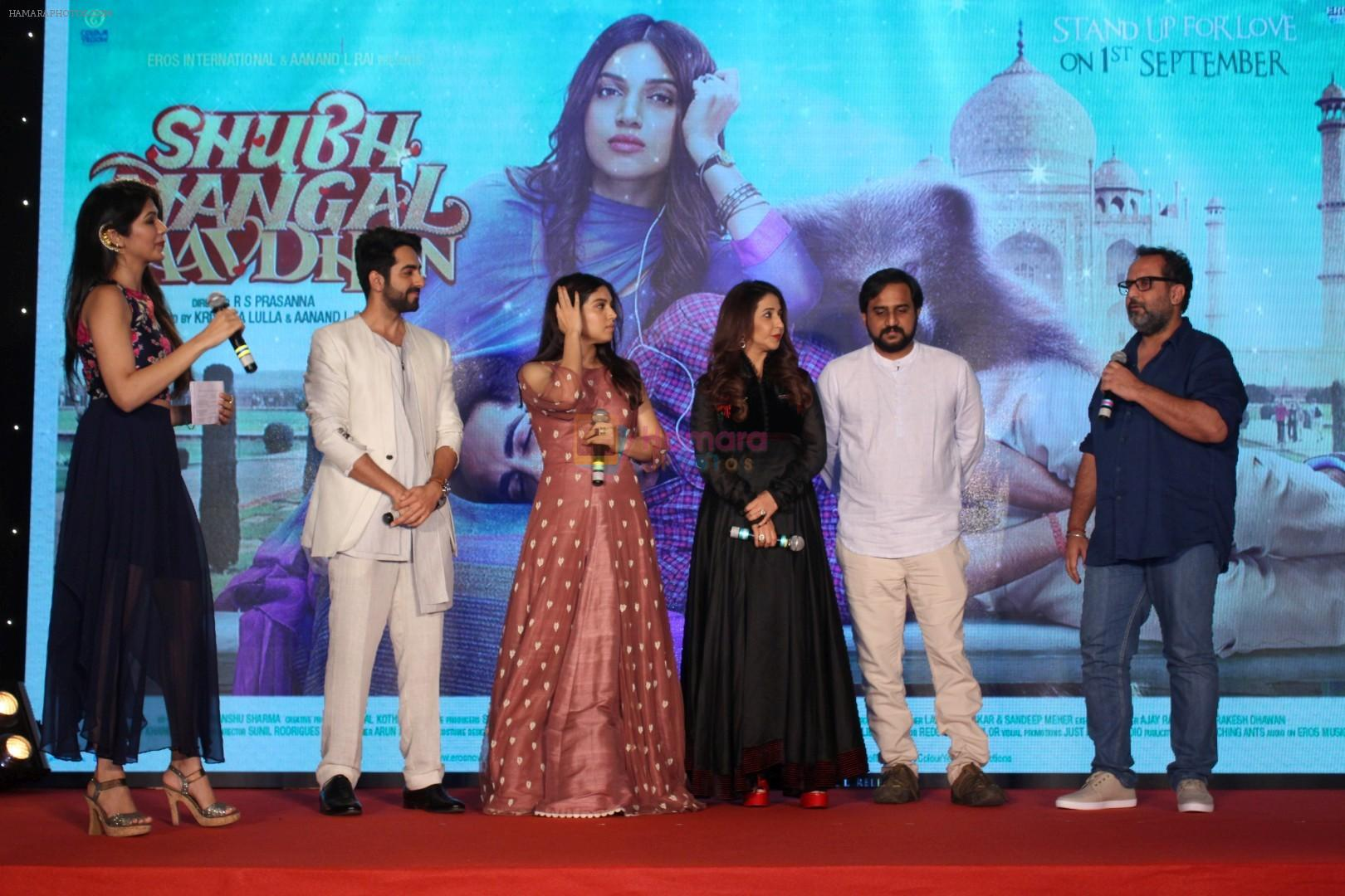 Ayushmann Khurrana, Bhumi Pednekar, Aanand L Rai, Krishika Lulla, Rs Prasanna at the Trailer Launch Of Movie Shubh Mangal Savdhan on 1st Aug 2017