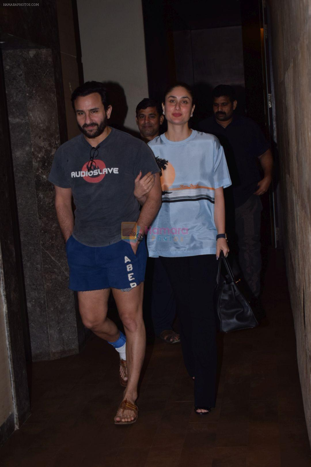 Saif Ali Khan & Kareena Kapoor At Screening Of Film Chef on 4th Oct 2017