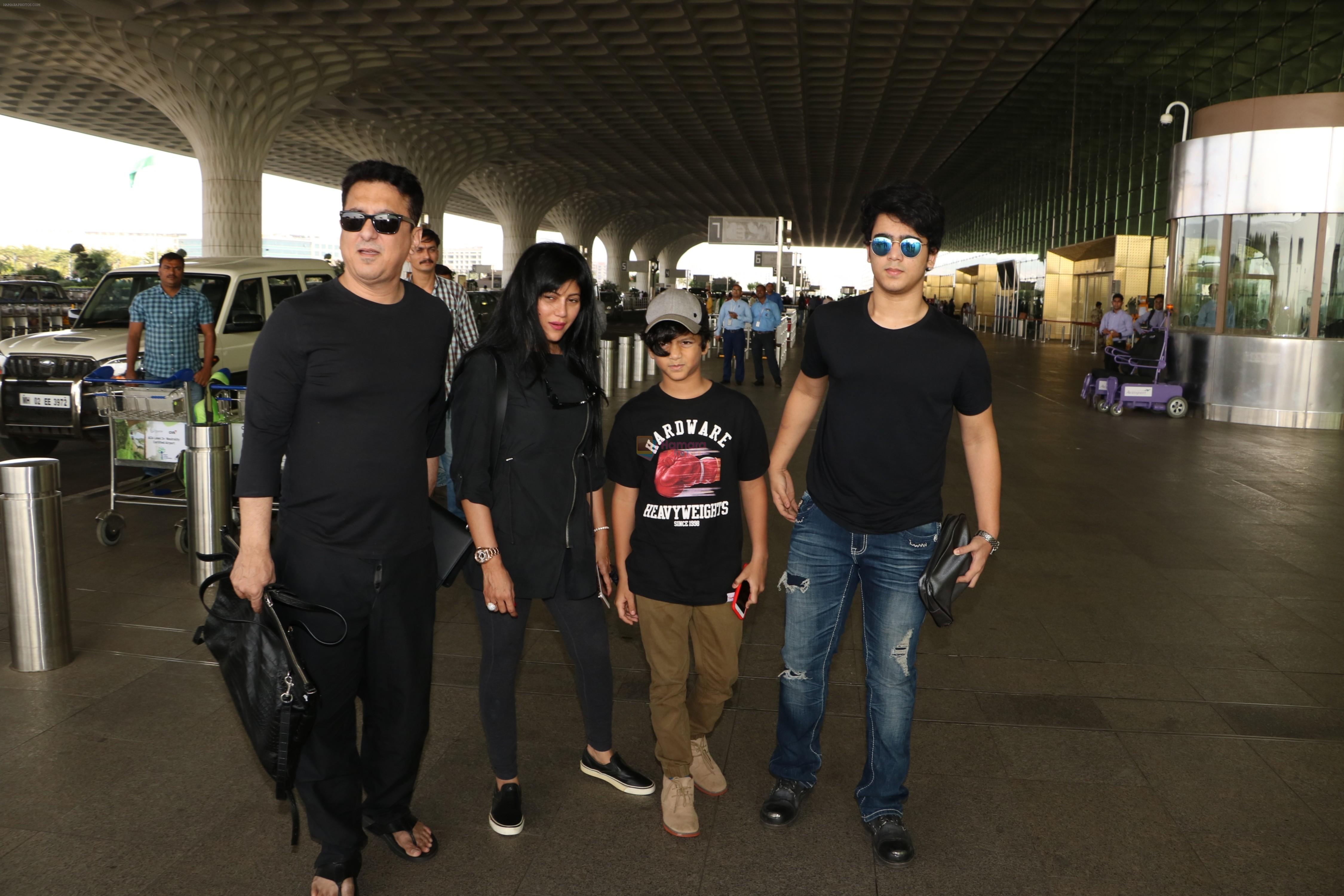 Sajid Nadiadwala with Family Spotted At Airport on 31st Oct 2017