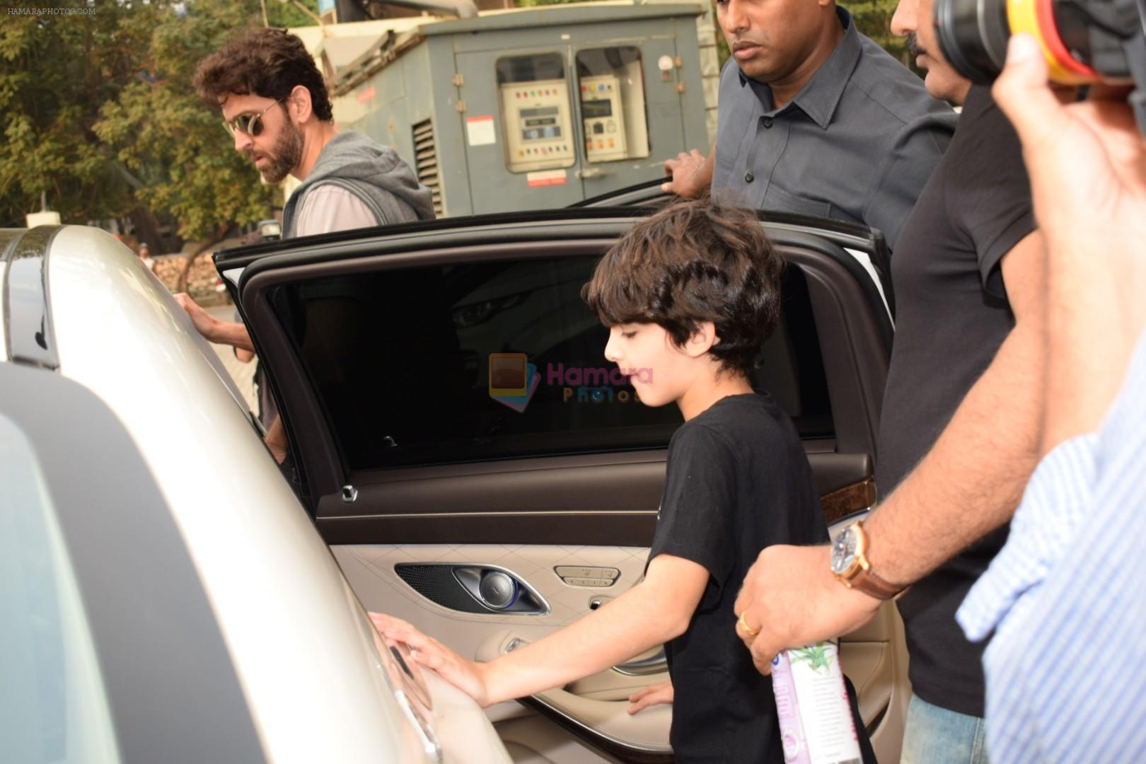 Hrithik Roshan spotted with sons at pvr juhu on 3rd Dec 2017