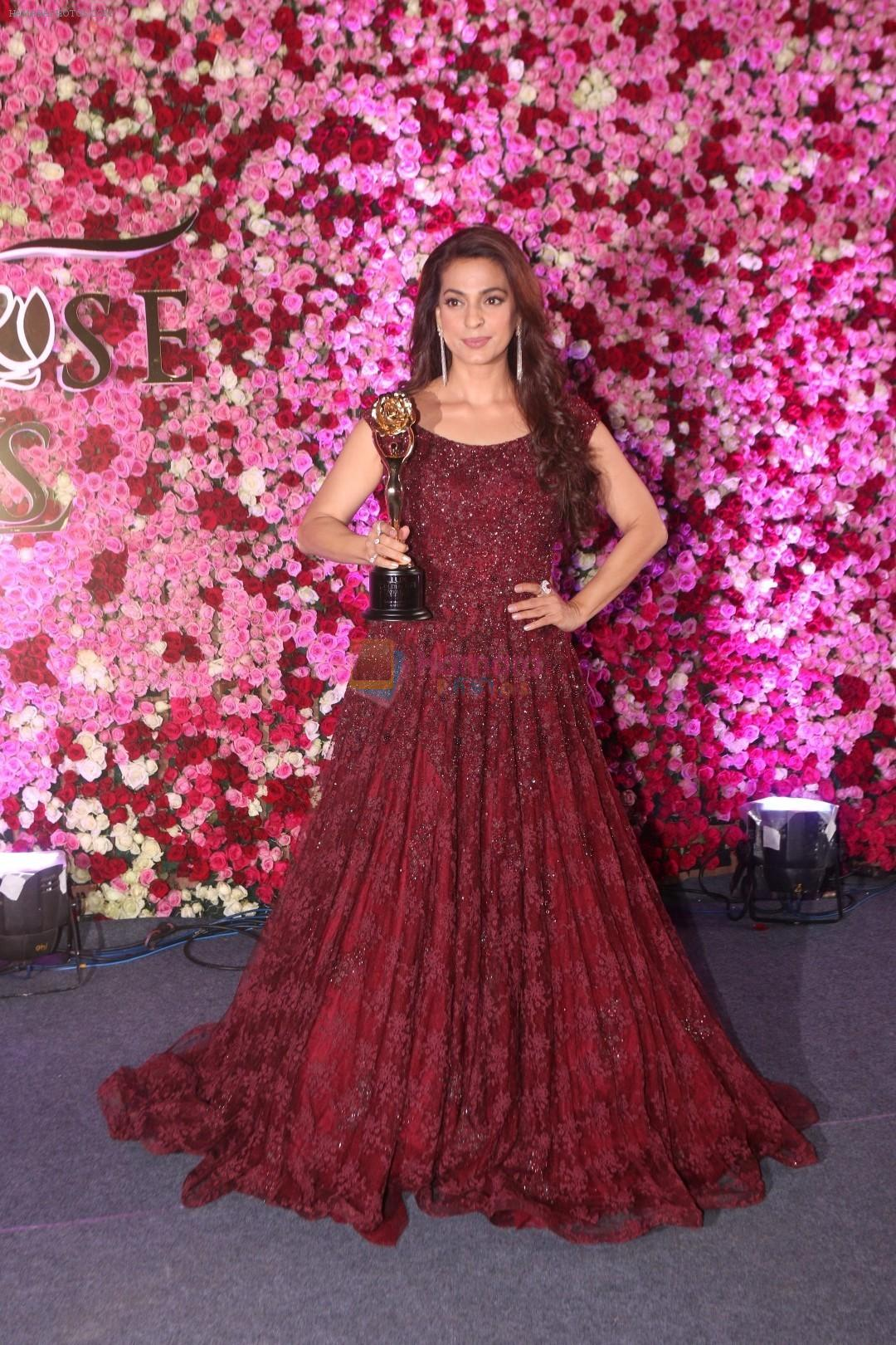 Juhi Chawla at the Red Carpet Of Lux Golden Rose Awards 2017 on 10th Dec 2017