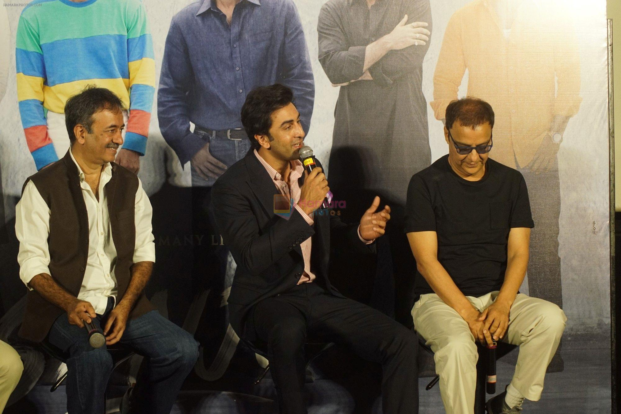 Rajkumar Hirani, Ranbir Kapoor, Vidhu Vinod Chopra at the Trailer Launch Of Film Sanju on 24th April 2018