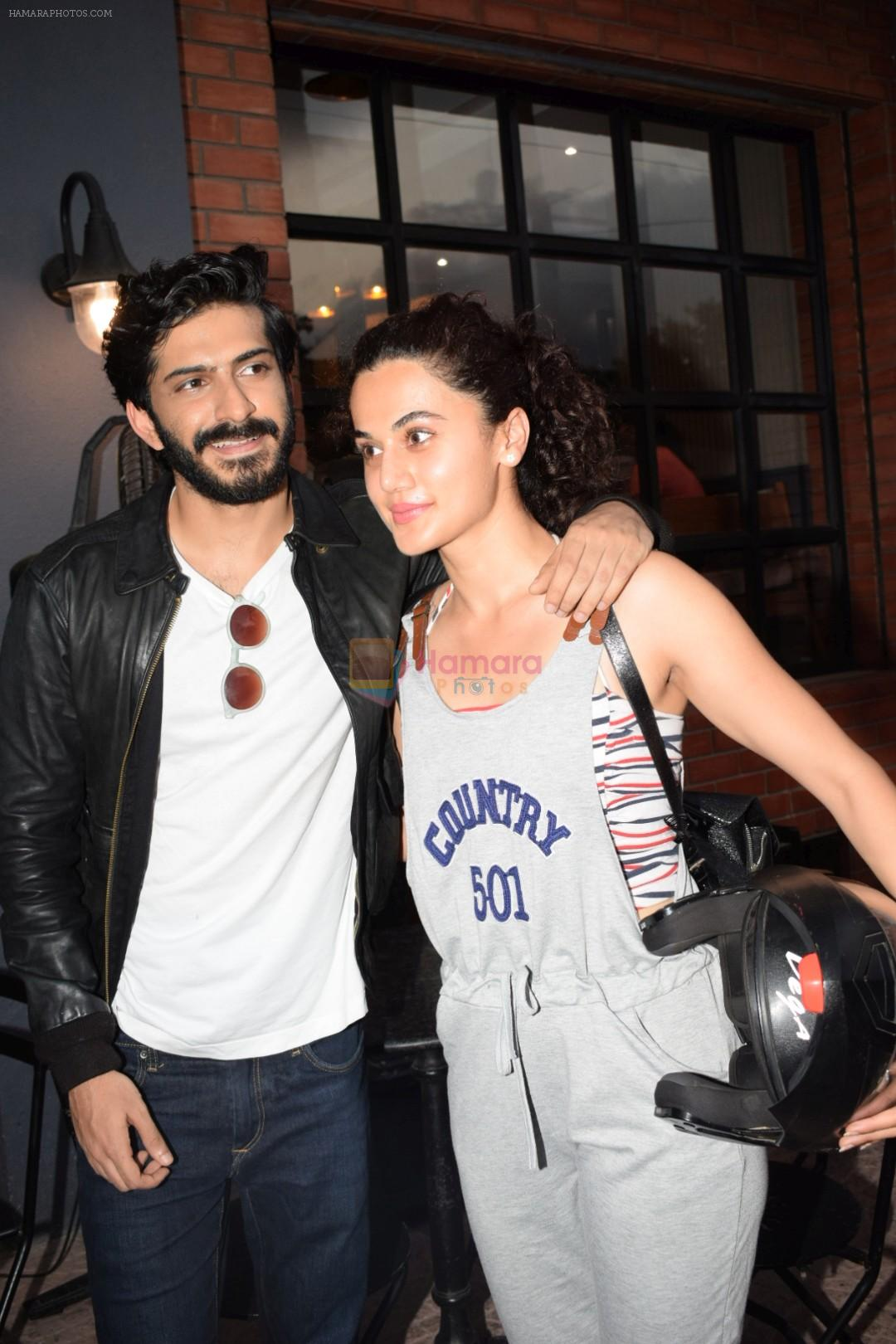 Harshvardhan Kapoor with Taapsee Pannu Riding Bike for the promotion of movie Bhavesh Joshi on 27th May 2018