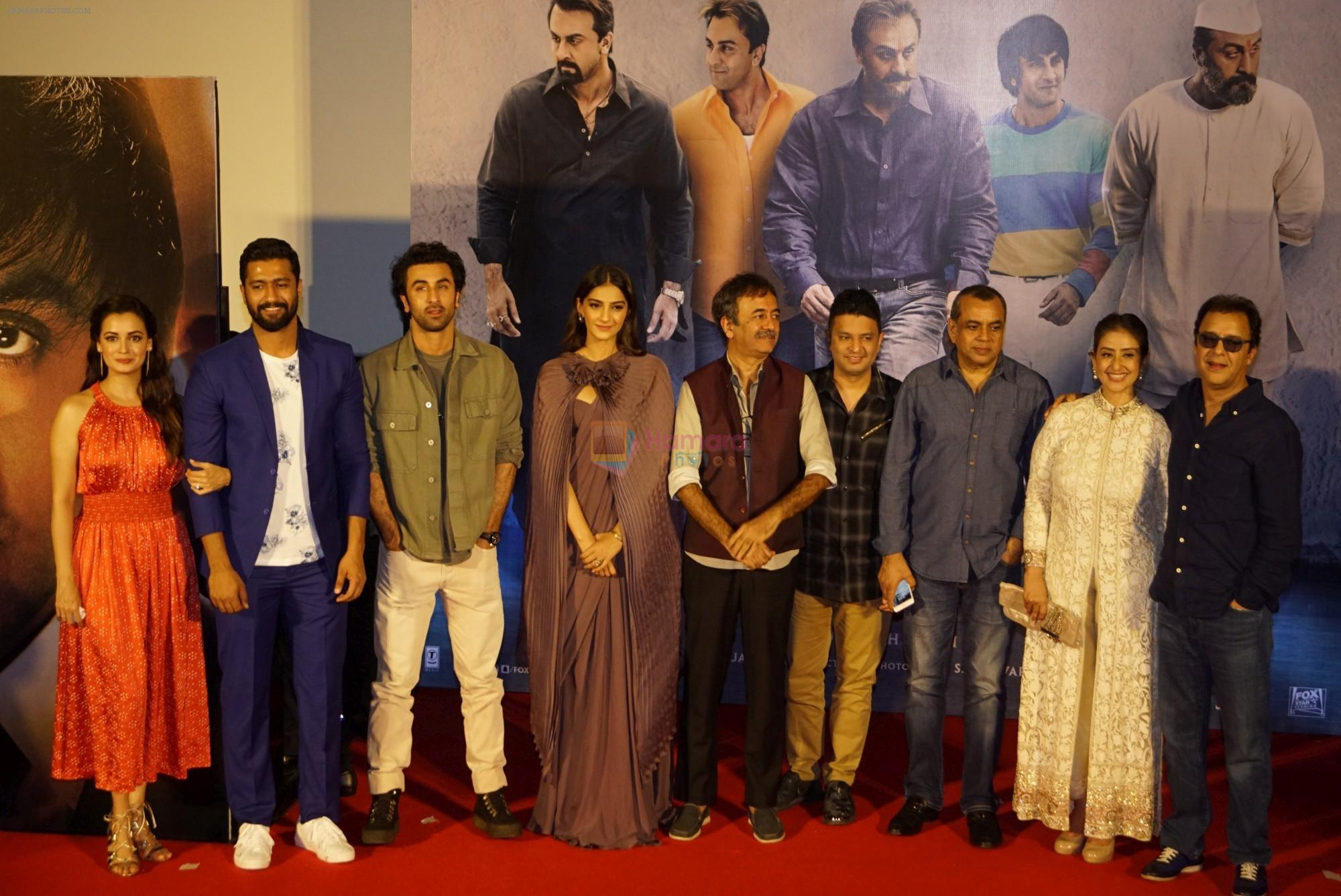 Sonam Kapoor, Manisha Koirala, Vicky Kaushal, Dia Mirza, Ranbir Kapoor, Rajkumar Hirani, Vidhu Vinod Chopra, Paresh Rawal, Bhushan Kumar at the Trailer Launch Of Film Sanju on 30th May 2018