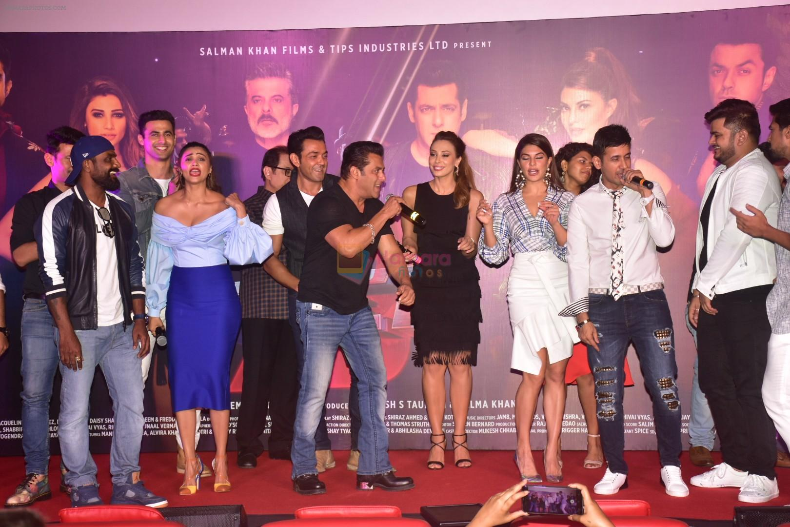 Bobby Deol, Saqib Saleem, Salman Khan, Jacqueline Fernandez, Daisy Shah, Lulia Vantur, Freddy Daruwala at the Song Launch Of Allah Duhai Hai From Film Race 3 on 1st June 2018