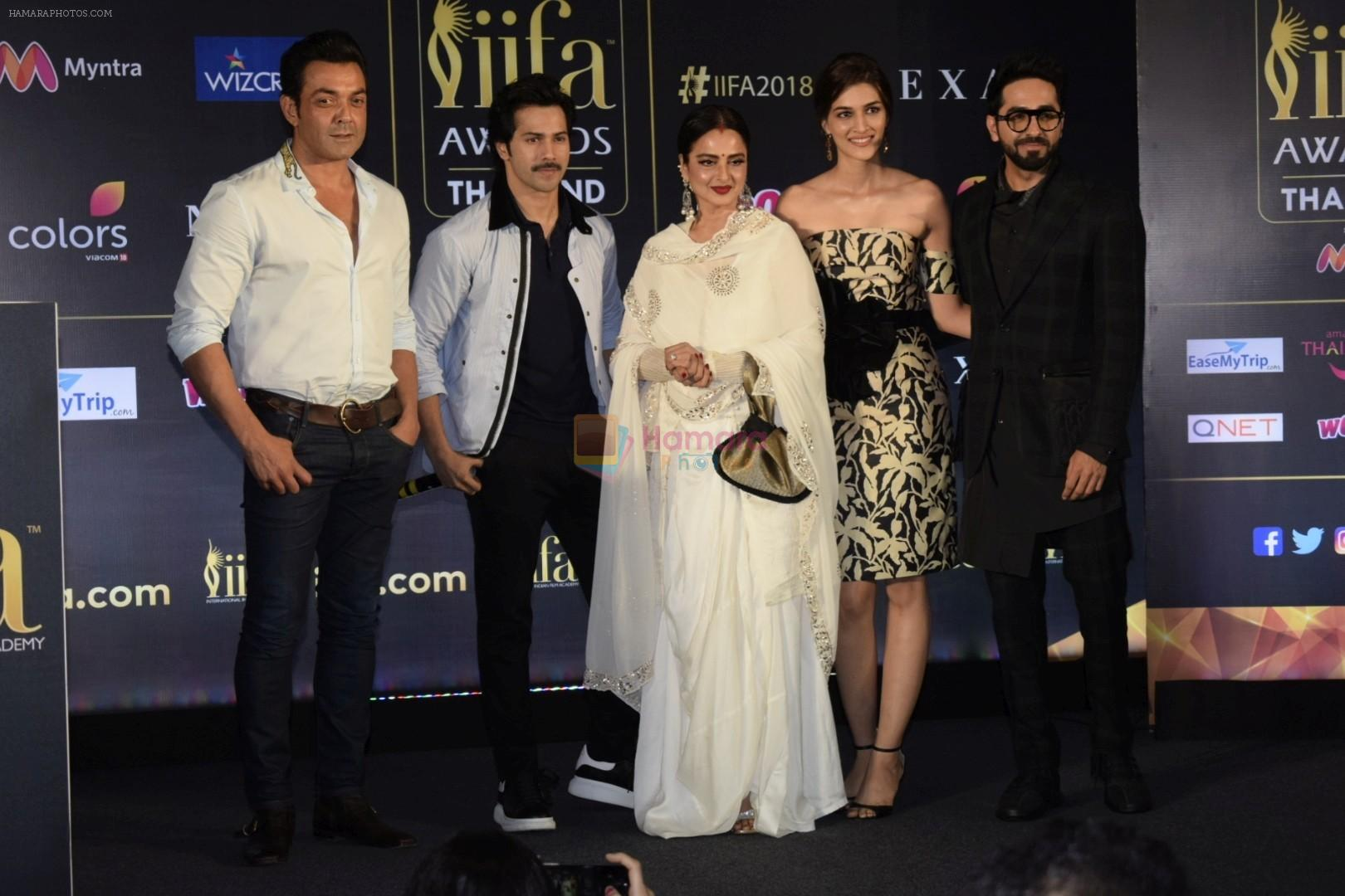 Bobby Deol, Rekha, Varun Dhawan, Ayushmann Khurrana, Kriti Sanon at IIFA press conference in jw marriott juhu on 12th June 2018