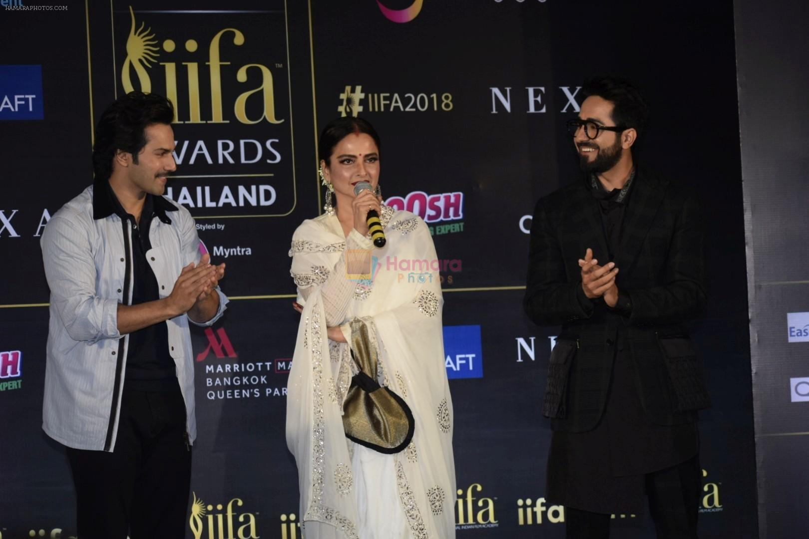 Rekha, Varun Dhawan, Ayushmann Khurrana, Kriti Sanon at IIFA press conference in jw marriott juhu on 12th June 2018