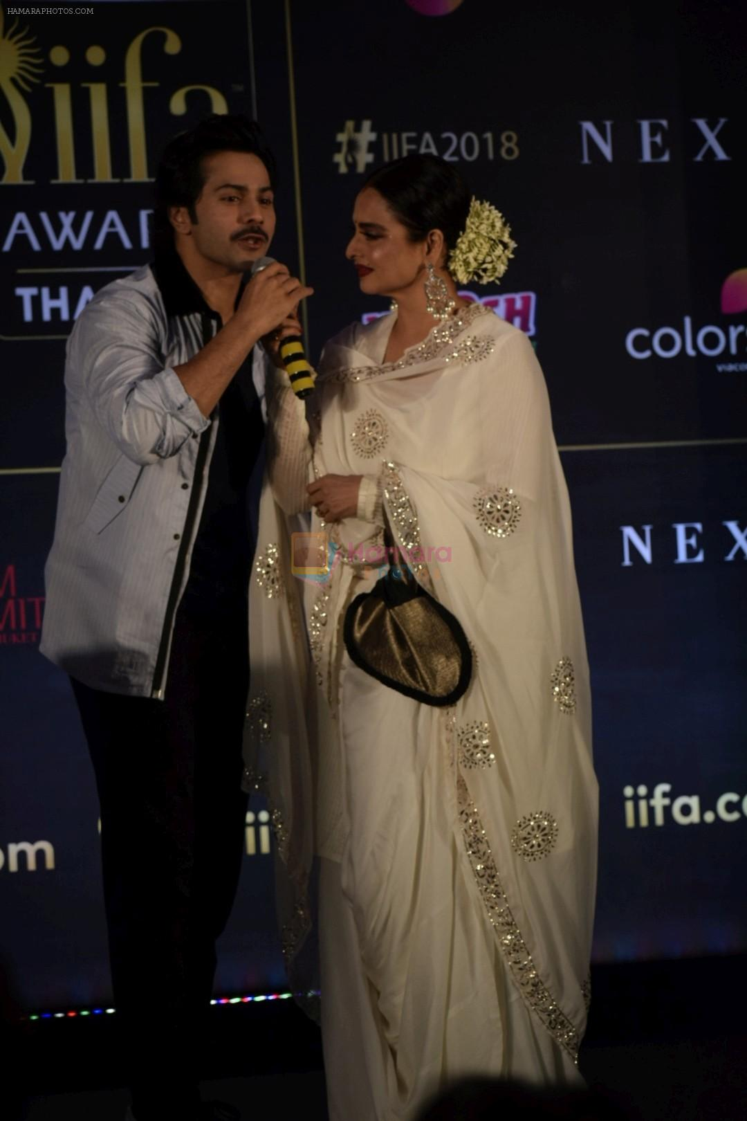 Rekha, Varun Dhawan at IIFA press conference in jw marriott juhu on 12th June 2018