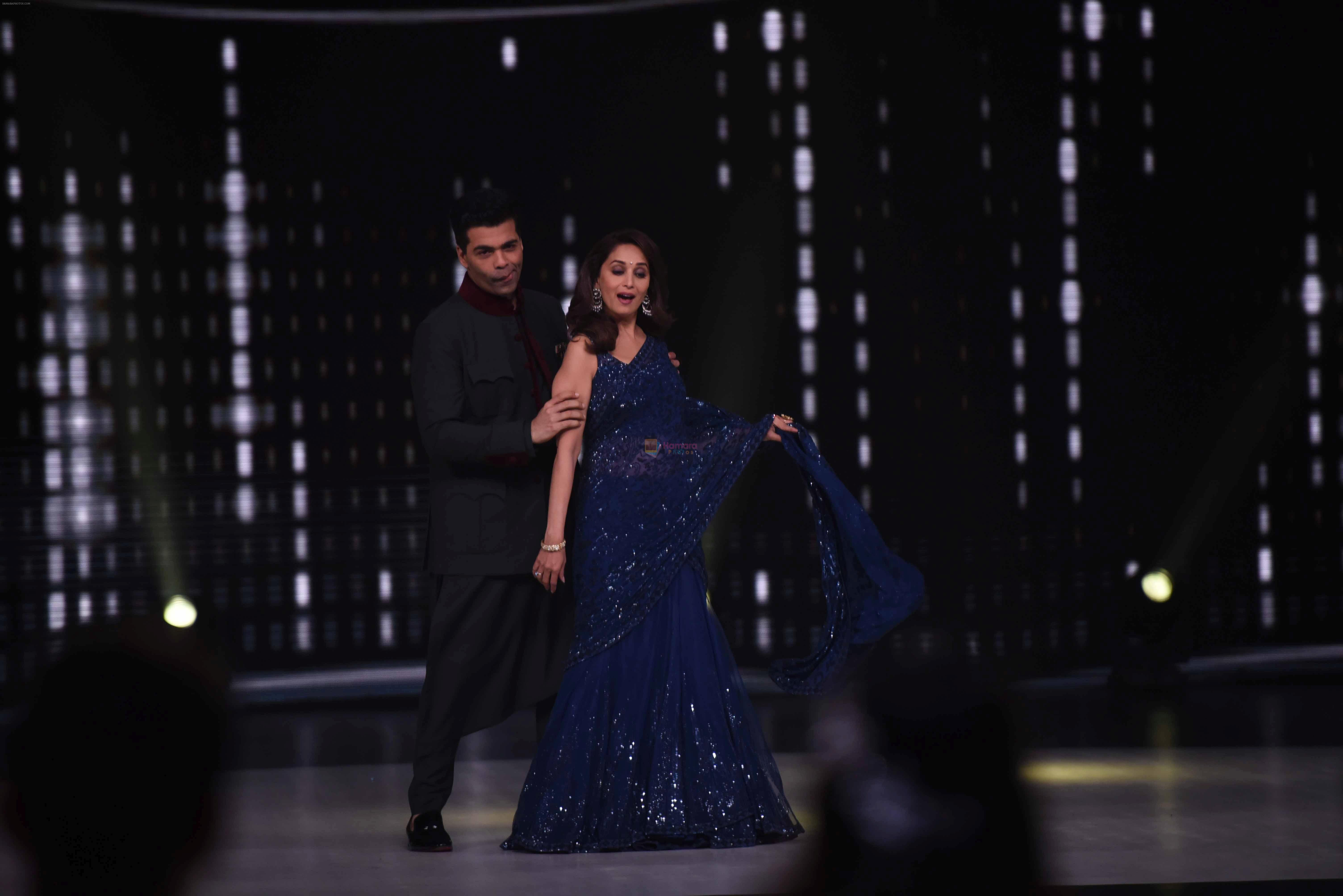 Madhuri Dixit, Karan Johar on the sets of colors Dance Deewane in filmcity on 10th July 2018