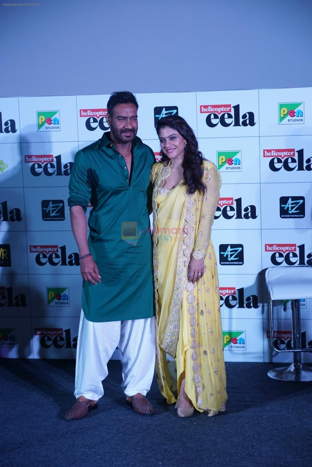 Kajol, Ajay Devgan, Neha Dhupia at the Trailer launch of film Helicopter Eela in pvr juhu on 5th Aug 2018
