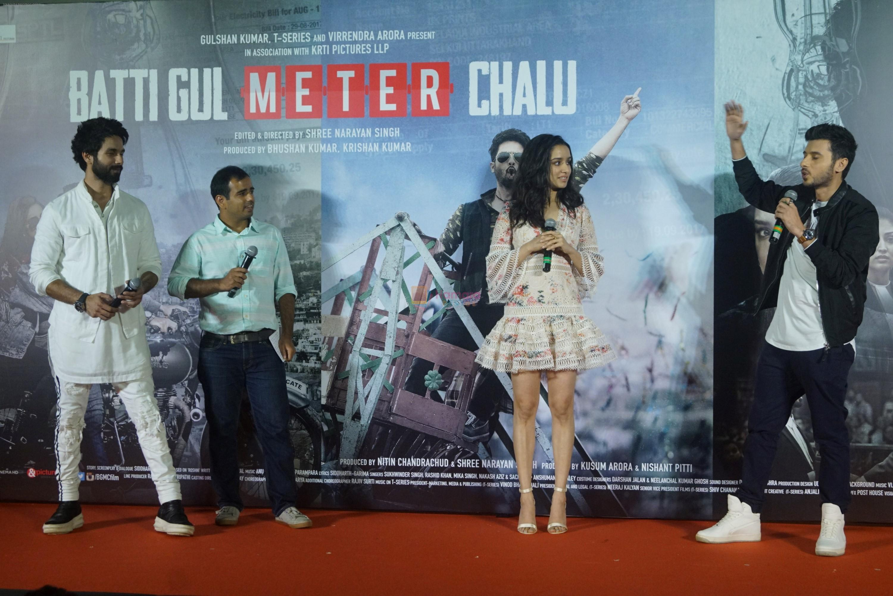 Shraddha Kapoor, Shahid Kapoor,Divyendu Sharma at the trailer launch of film Batti Gul Meter Chalu on 10th Aug 2018