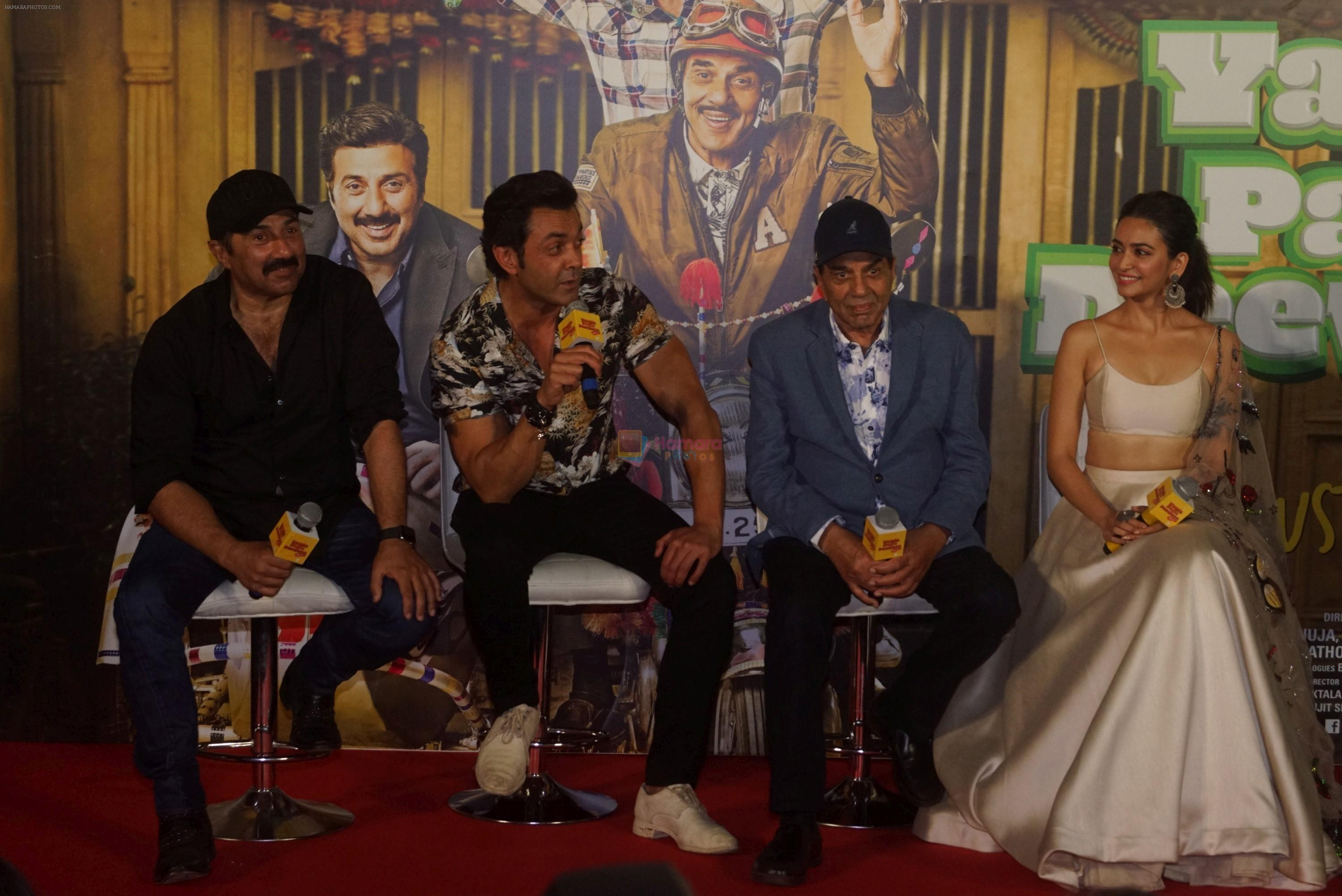 Kriti Kharbanda, Bobby Deol, Dharmendra, Sunny Deol at the Trailer Launch Of Hindi Film Yamla Pagla Deewana Yamla Pagla Deewana Phir Se on 9th Aug 2018