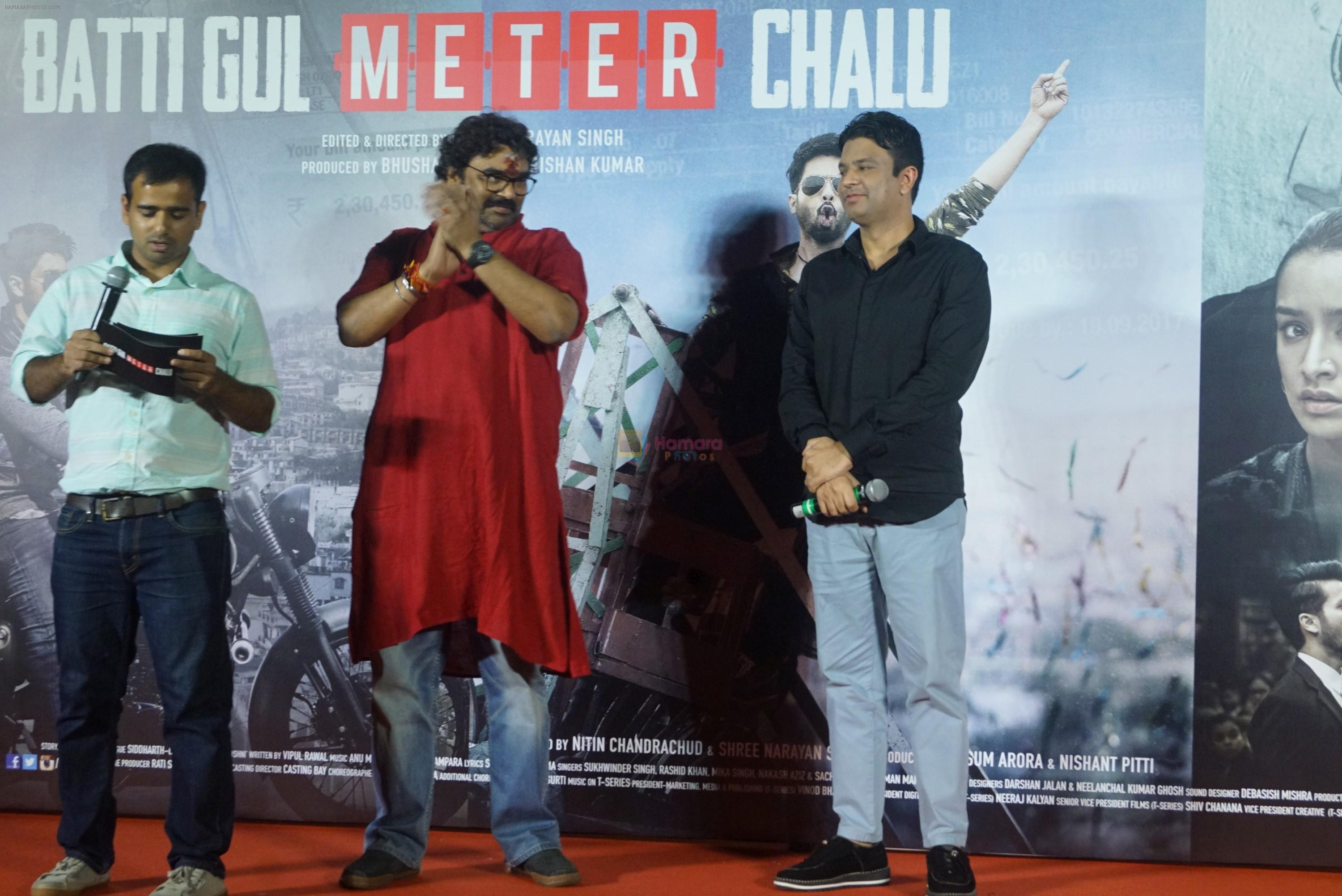 Shree Narayan Singh, Bhushan Kumar at the trailer launch of film Batti Gul Meter Chalu on 10th Aug 2018