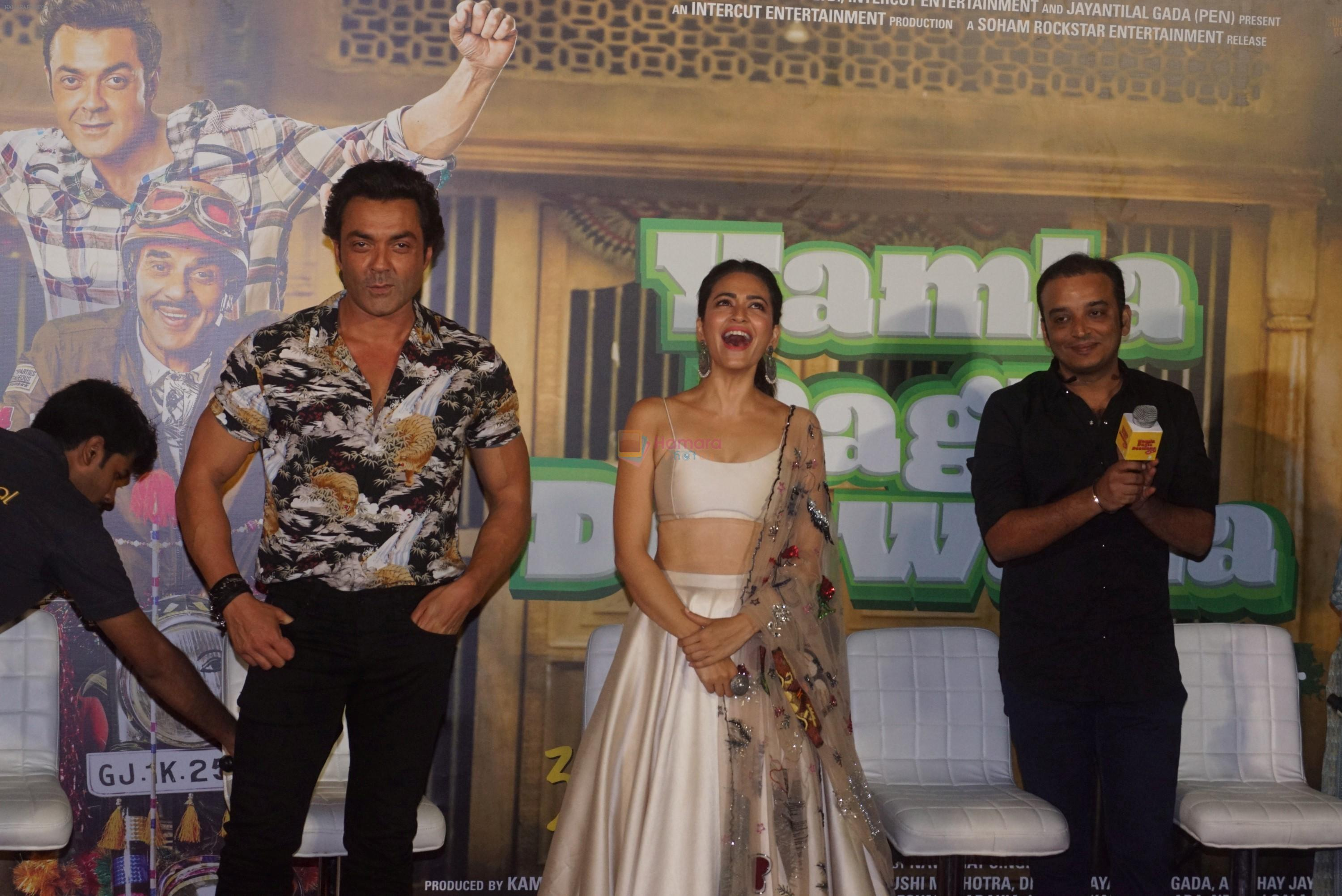 Kriti Kharbanda, Bobby Deol, Navaniat Singh at the Trailer Launch Of Hindi Film Yamla Pagla Deewana Yamla Pagla Deewana Phir Se on 9th Aug 2018