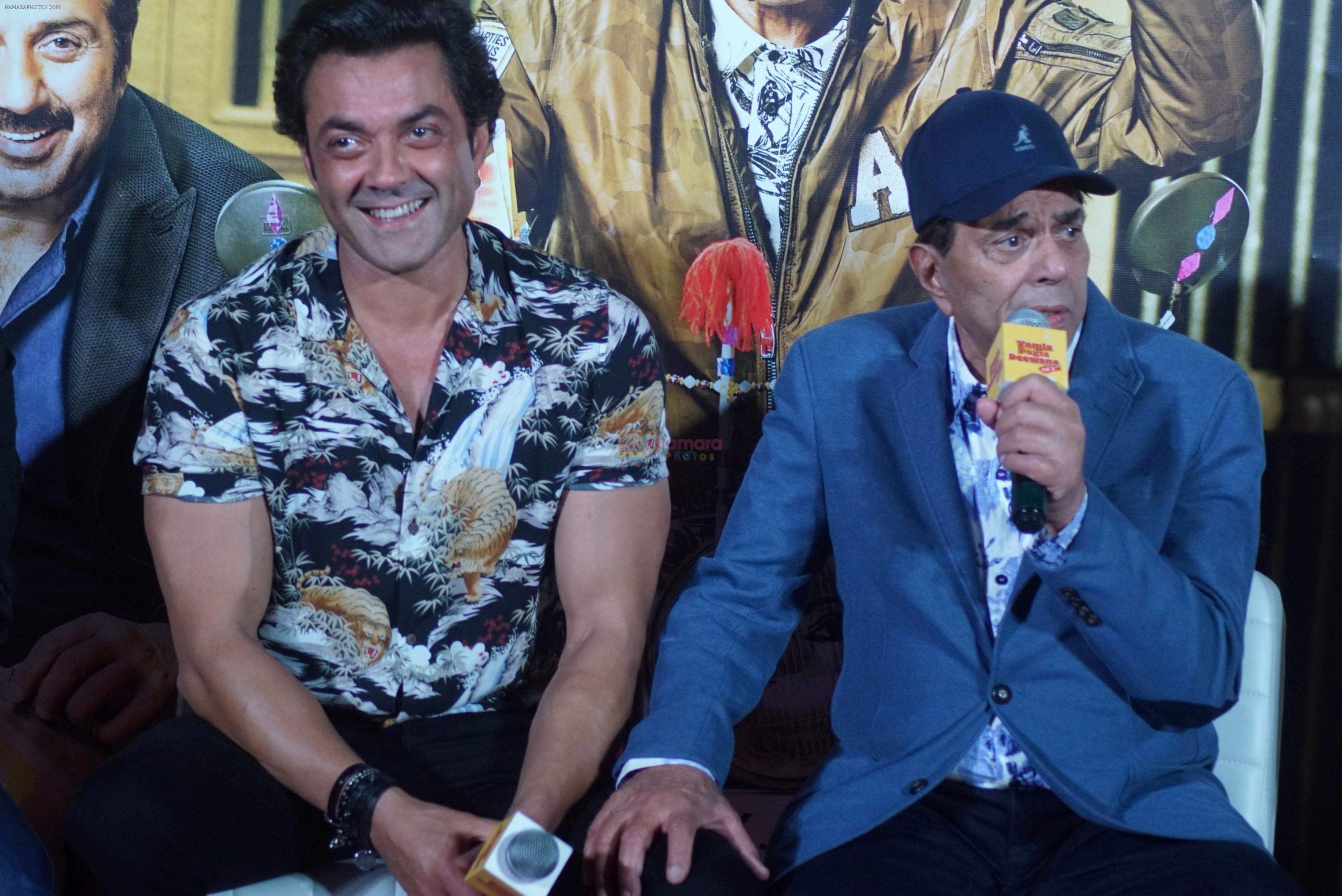 Bobby Deol, Dharmendra at the Trailer Launch Of Hindi Film Yamla Pagla Deewana Yamla Pagla Deewana Phir Se on 9th Aug 2018