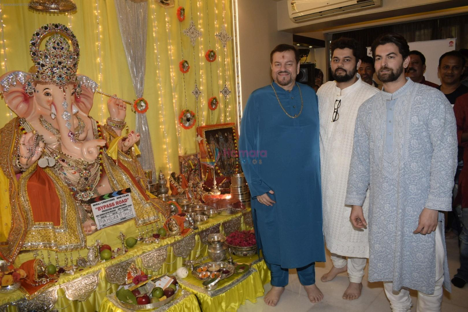 Neil, Nitin and Naman Mukesh celebrates Ganesh chaturthi & muhutat of his brother's directorial debut at his home on 13th Sept 2018