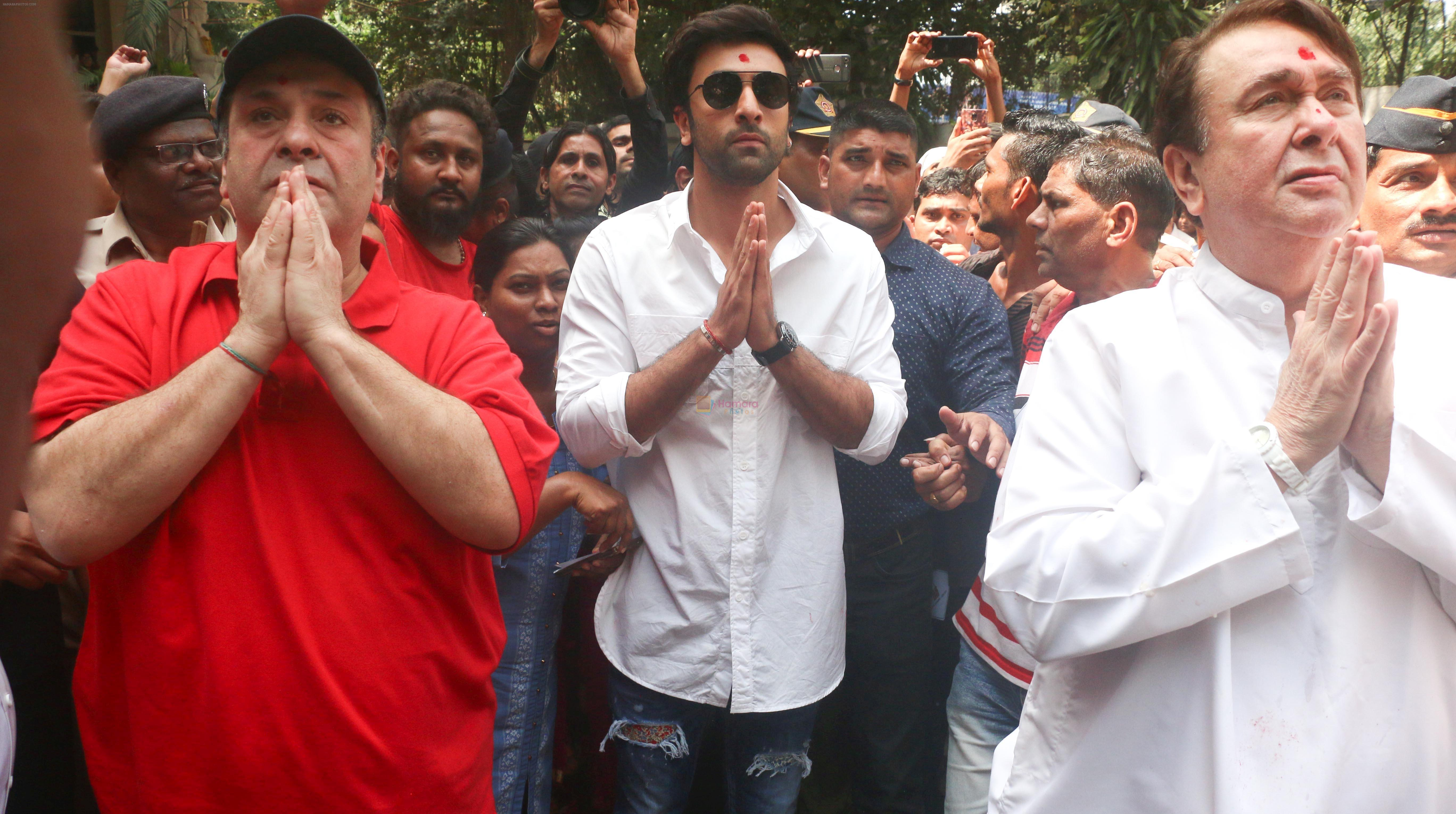 Ranbir Kapoor, Rajiv Kapoor, Randhir Kapoor At The RK Studio's Ganesha Immersion In Chembur on 23rd Sept 2018