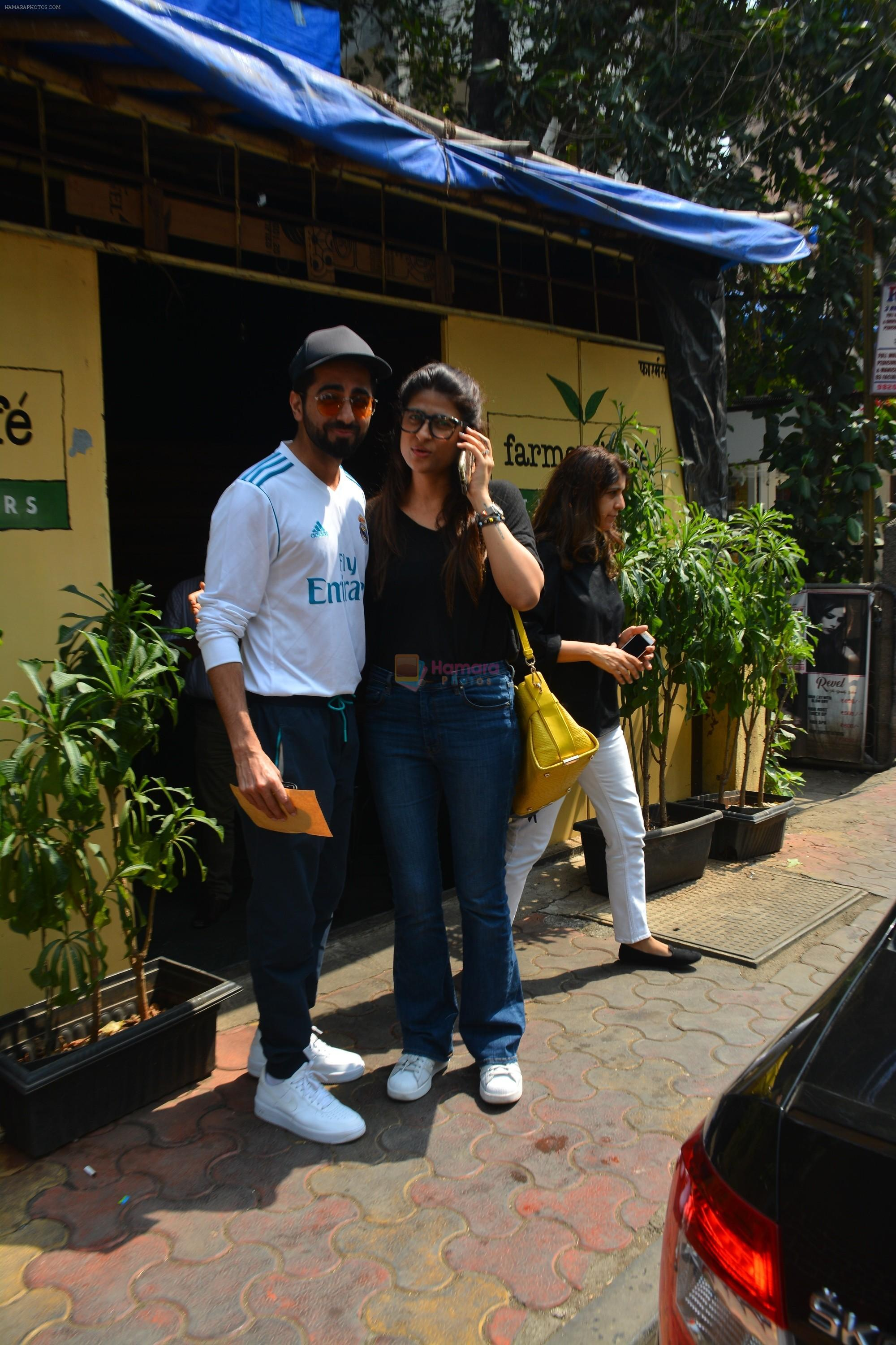 Aayushman Khurana & Wife Tahira Spotted At Farmer's Cafe In Bandra on 16th Oct 2018