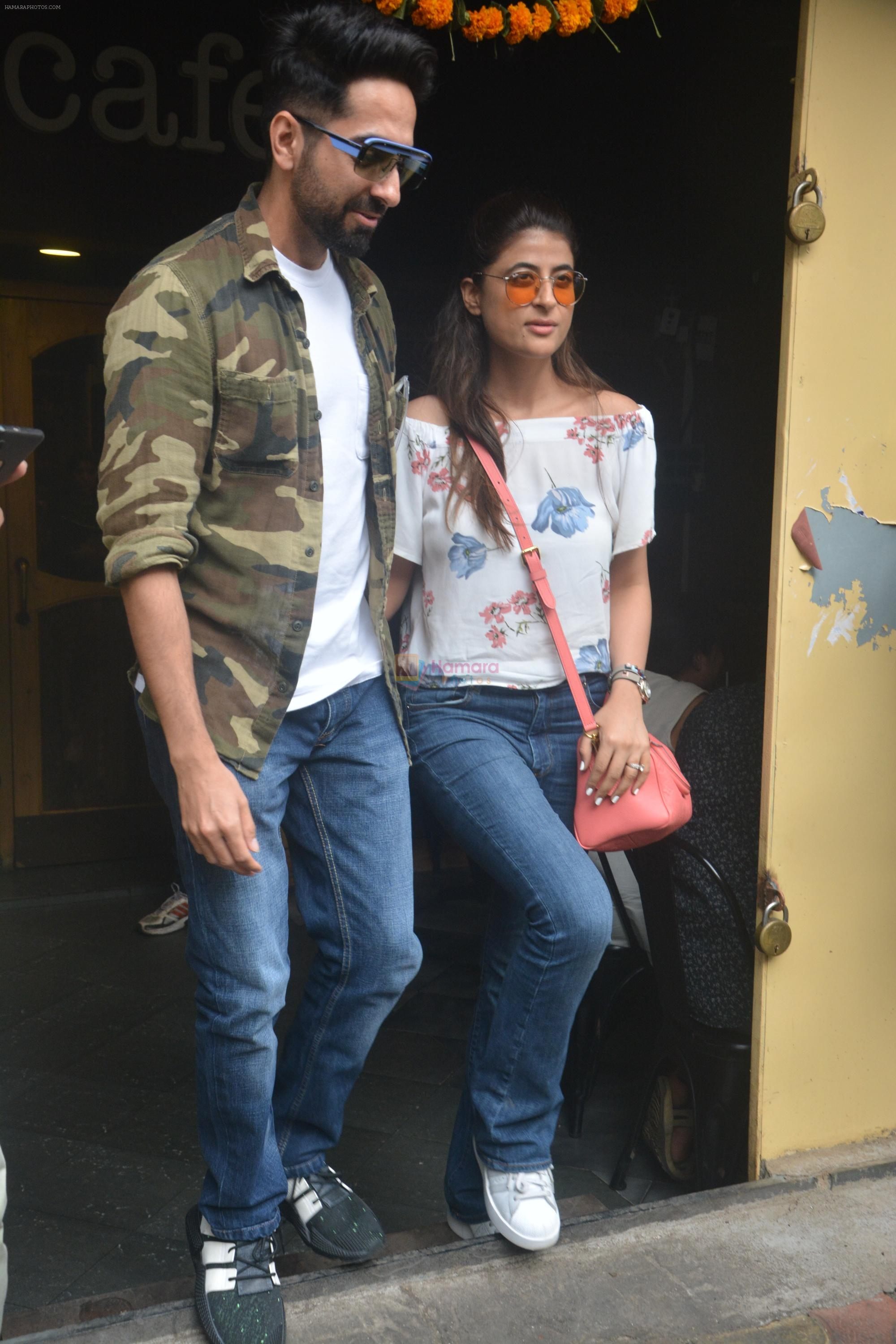 Ayushman khurana with wife Tahira spotted at farmer's cafe Bandra on 19th Oct 2018
