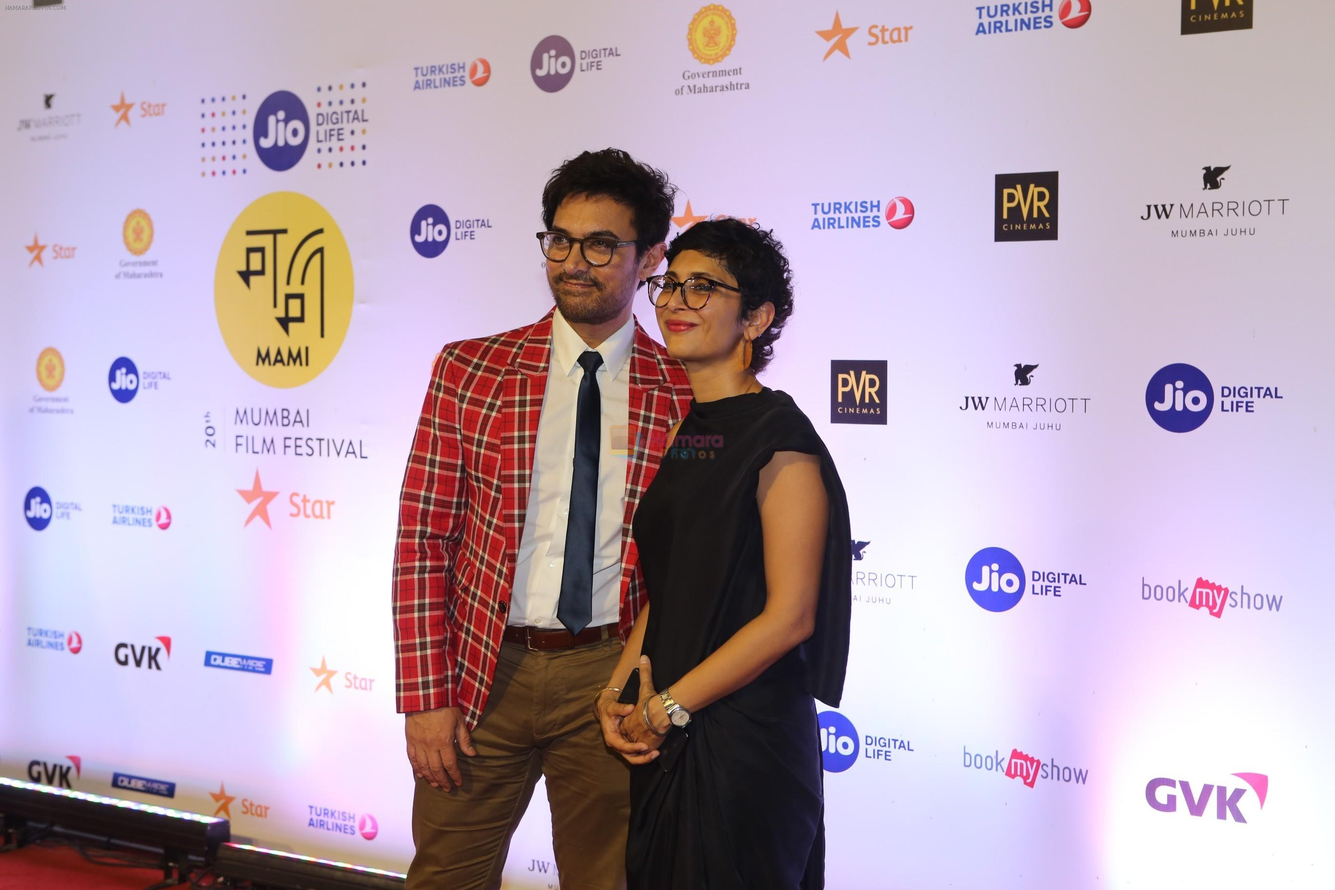 Aamir Khan, Kiran Rao at the Opening ceremony of Mami film festival in Gateway of India on 25th Oct 2018