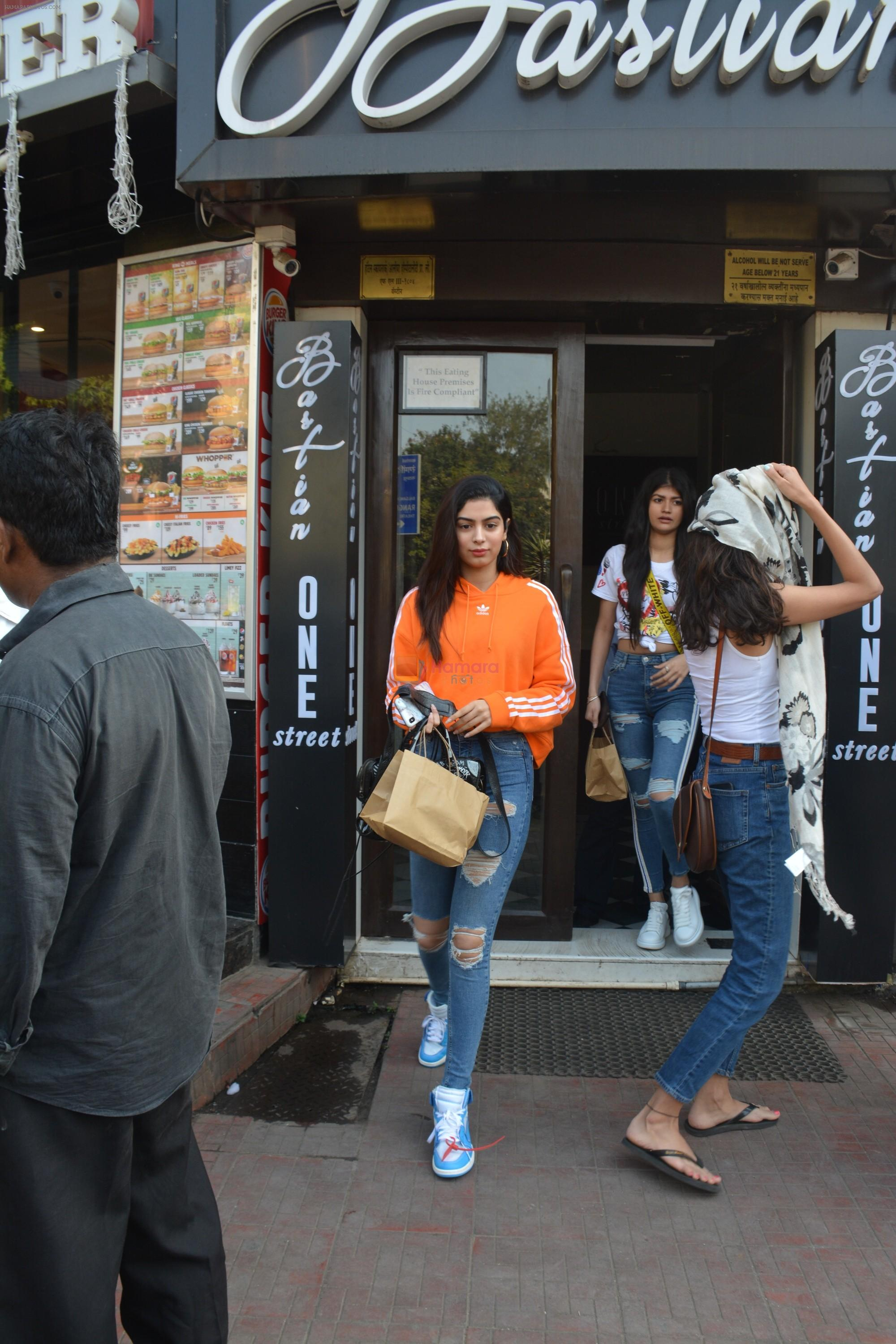 Khushi Kapoor and Anjali Dhawan spotted at Bastian bandra on 18th Nov 2018