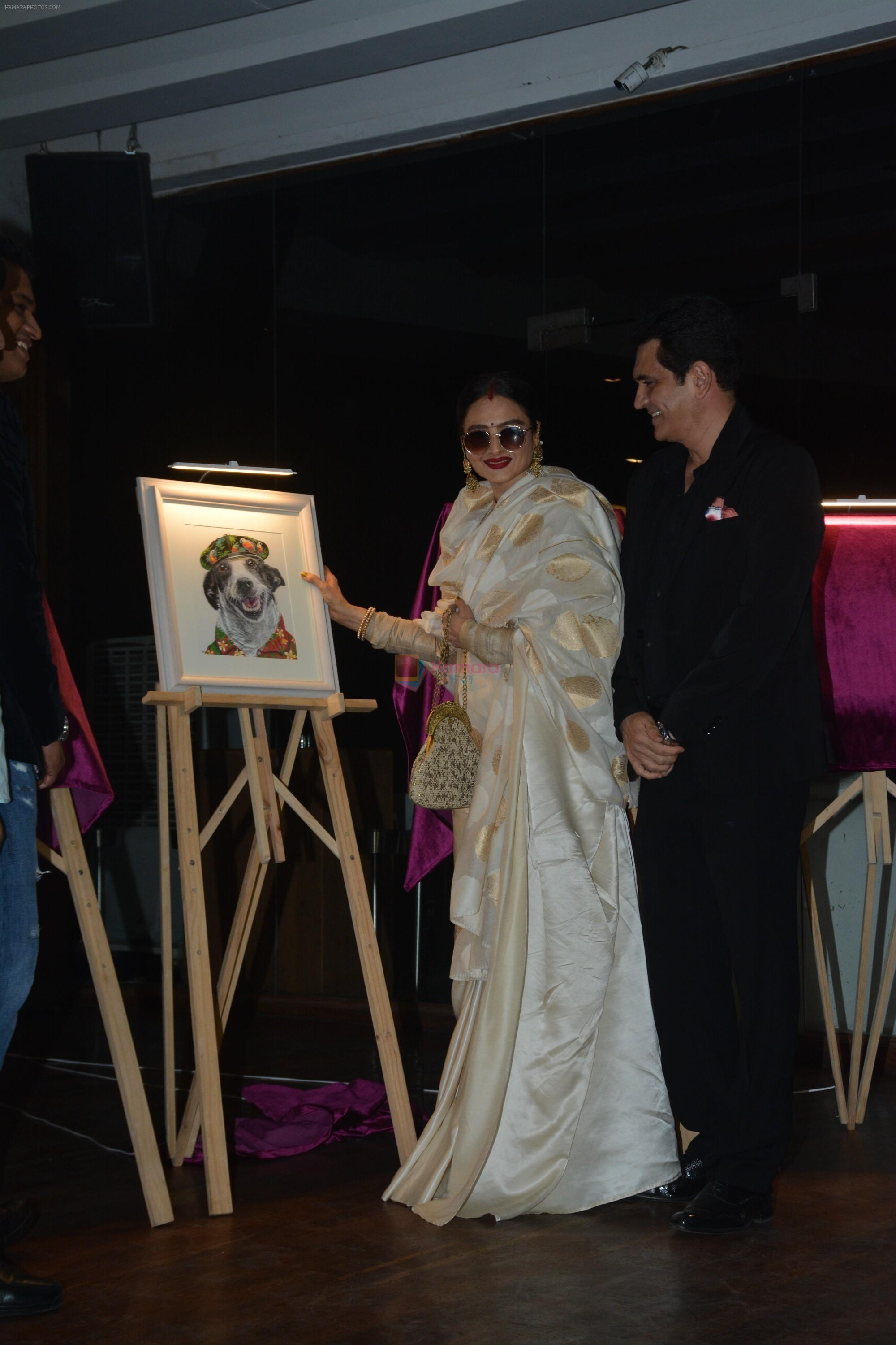 Rekha at the launch of Hand Painted Animal Calendar By Filmmaker Omung Kumar on 21st Nov 2018