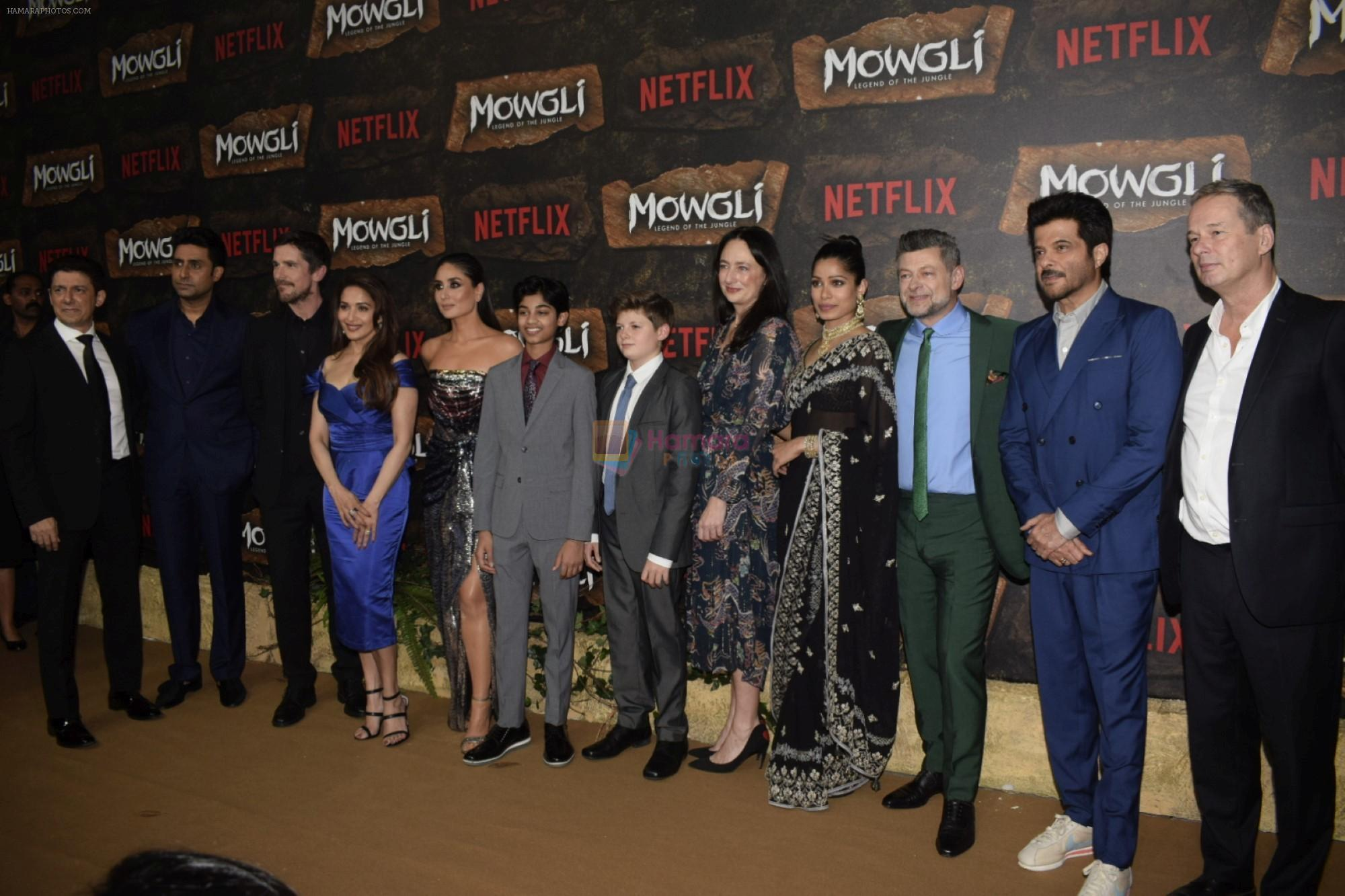 Kareena Kapoor Khan, Anil Kapoor, Abhishek Bachchan and Madhuri Dixit, Christian Bale,_Andy Serkis, Freida Pinto, Rohan Chand at Mowgli world premiere in Yashraj studios, Andheri on 26th Nov 2018