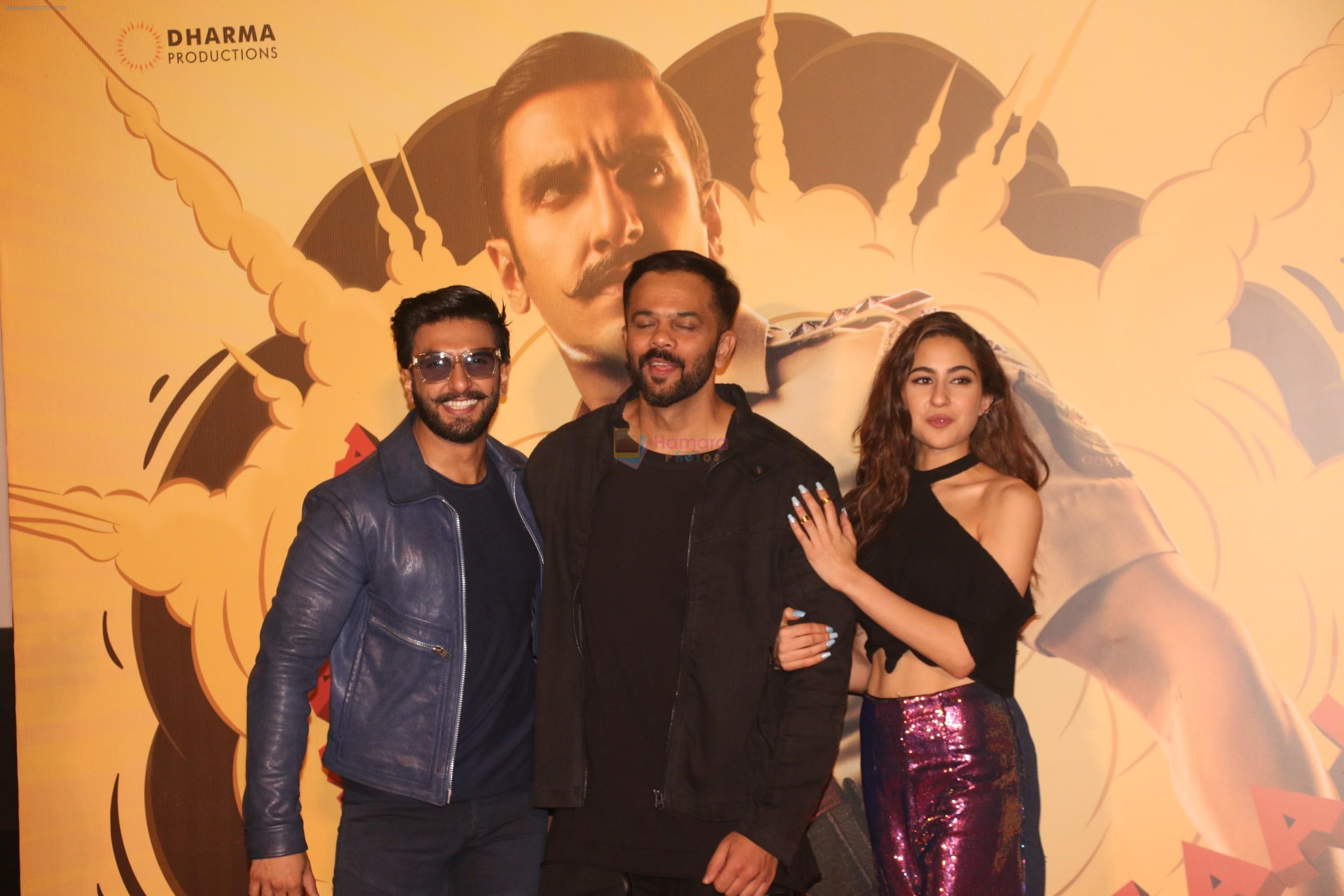 Ranveer Singh, Rohit Shetty, Sara Ali Khan at the Trailer launch of film Simmba in PVR icon, andheri on 4th Dec 2018
