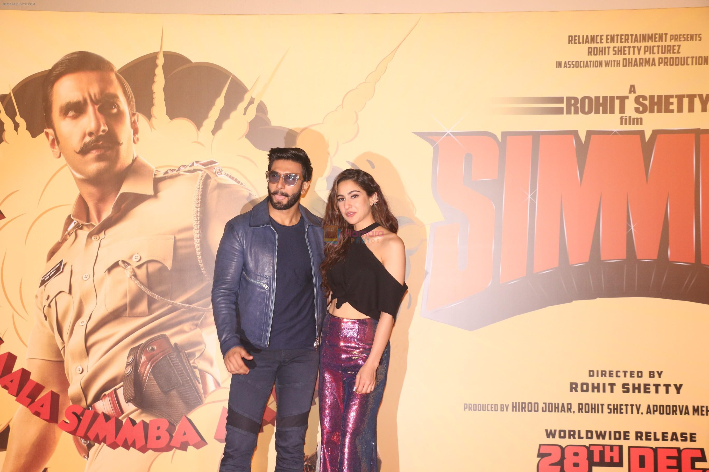 Ranveer Singh, Sara Ali Khan at the Trailer launch of film Simmba in PVR icon, andheri on 4th Dec 2018