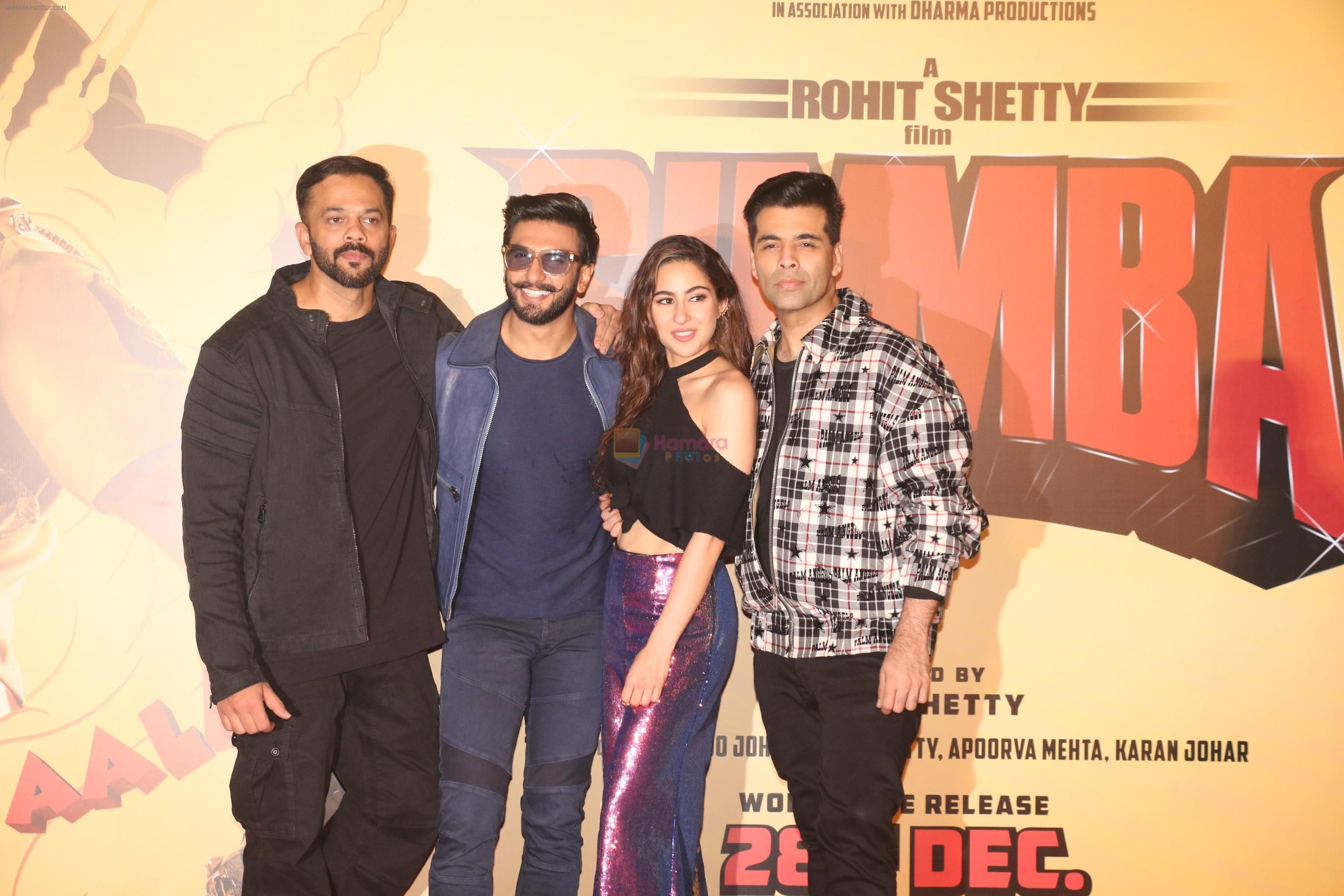 Ranveer Singh, Rohit Shetty, Sara Ali Khan, Karan Johar at the Trailer launch of film Simmba in PVR icon, andheri on 4th Dec 2018