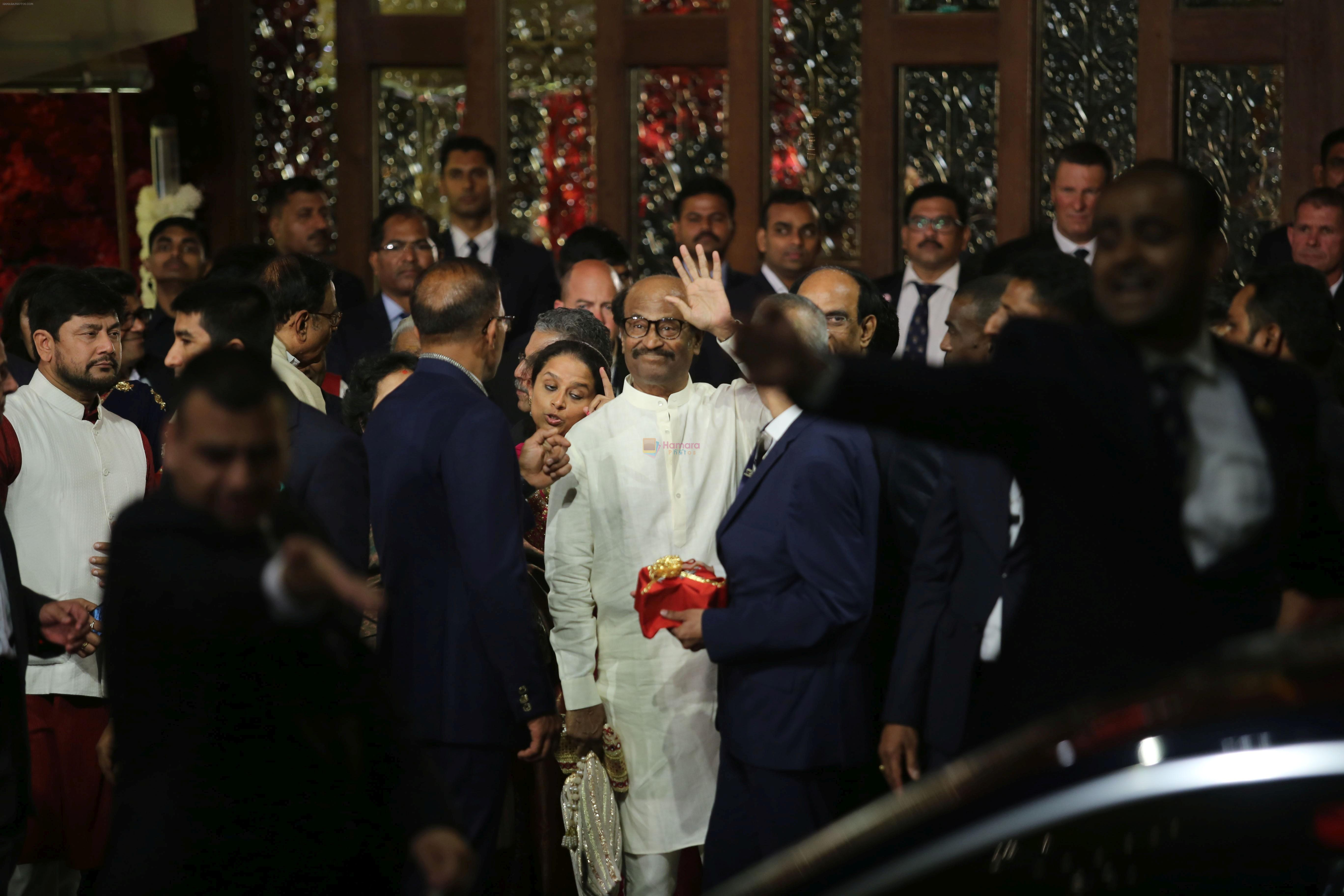Rajnikanth at Isha Ambani and Anand Piramal's wedding on 12th Dec 2018