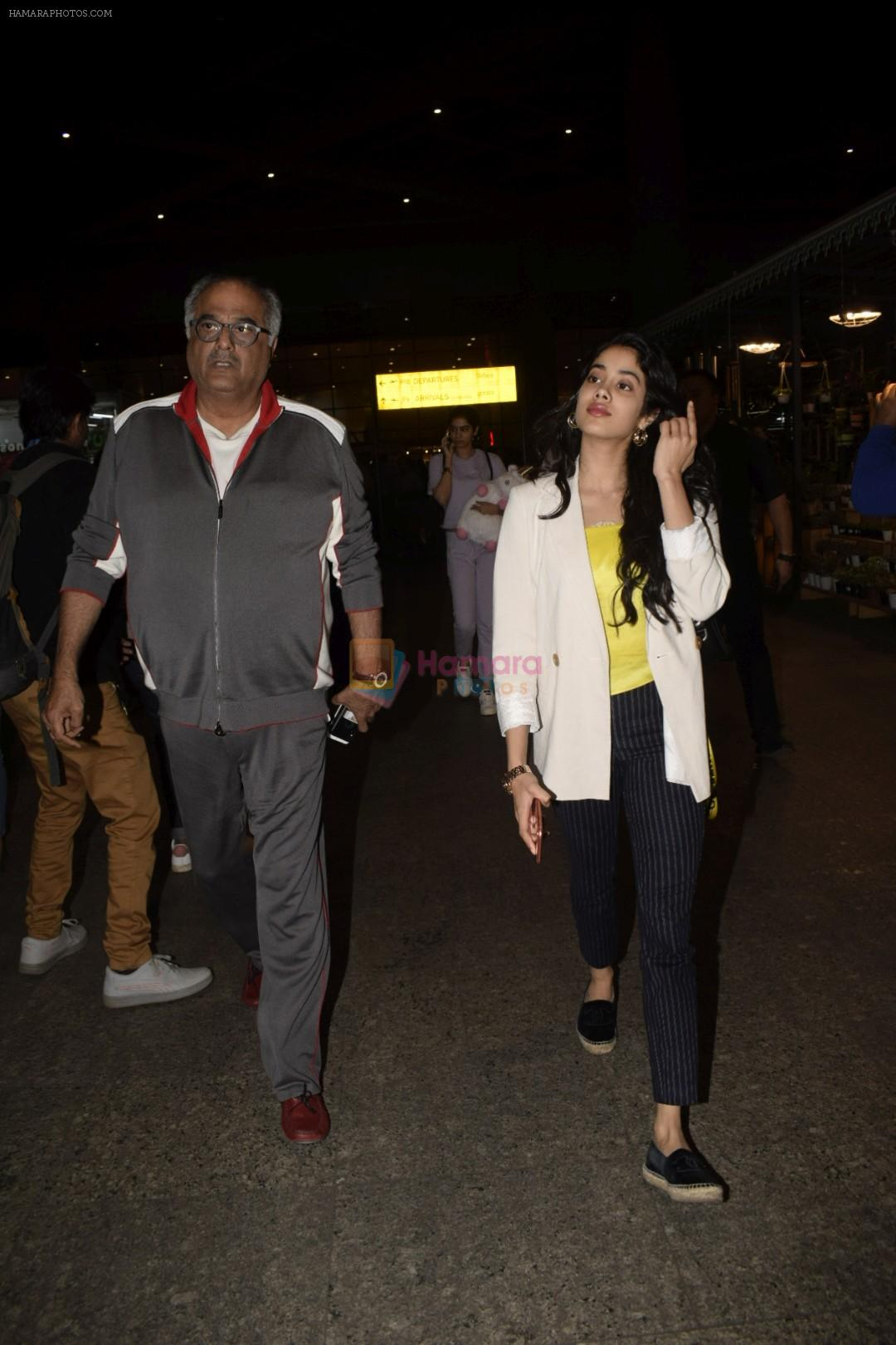 Boney Kapoor,Janhvi Kapoor spotted at airport in andheri on 29th Dec 2018