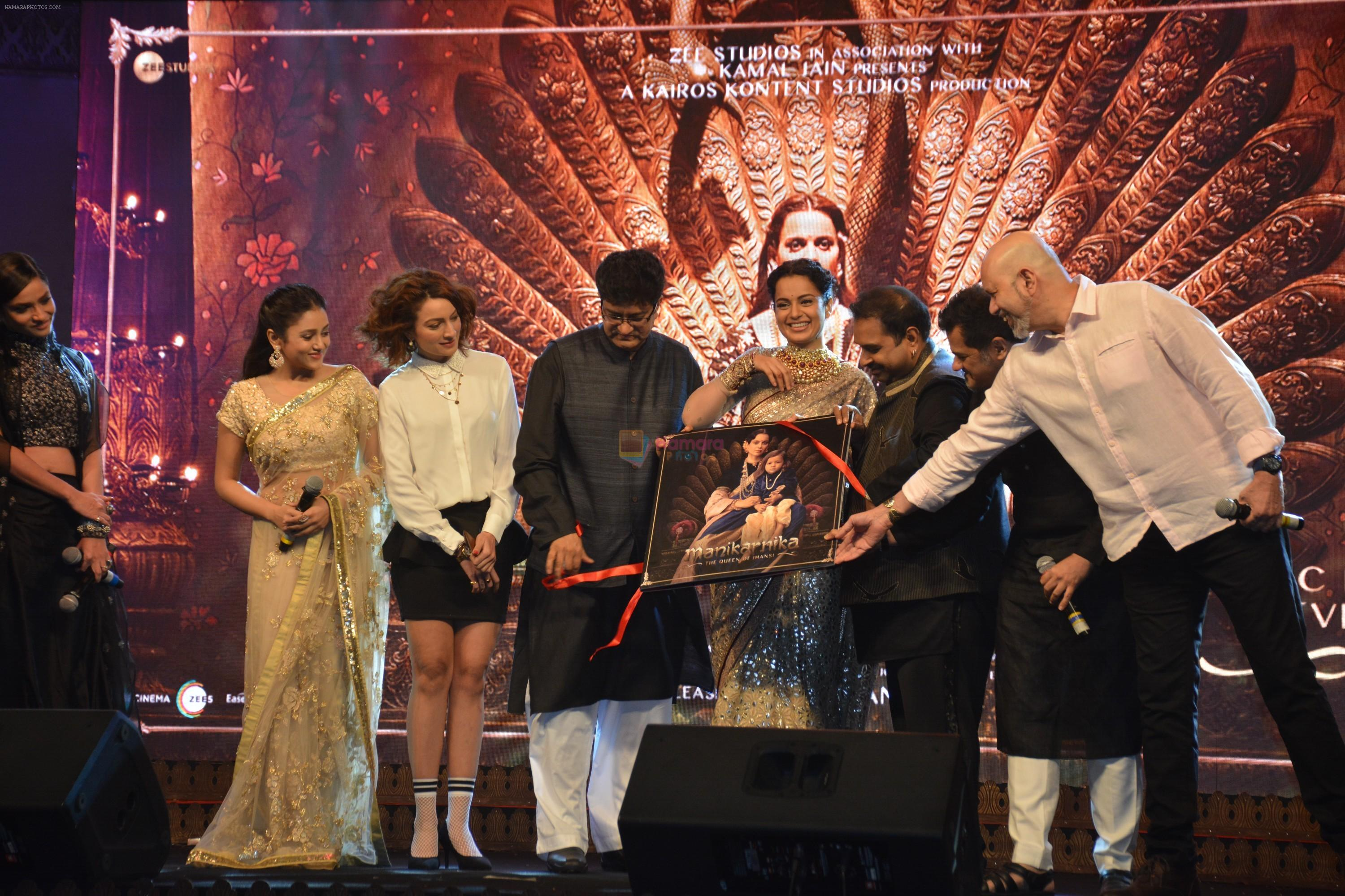 Ankita Lokhande, Kangana Ranaut, Mishti. Shankar Mahadevan, Ehsaan Noorani, Loy Mendonsa, Taher Shabbir, Parsoon Joshi at the Manikarnika music launch in Taj Lands End bandra on 9th Jan 2019